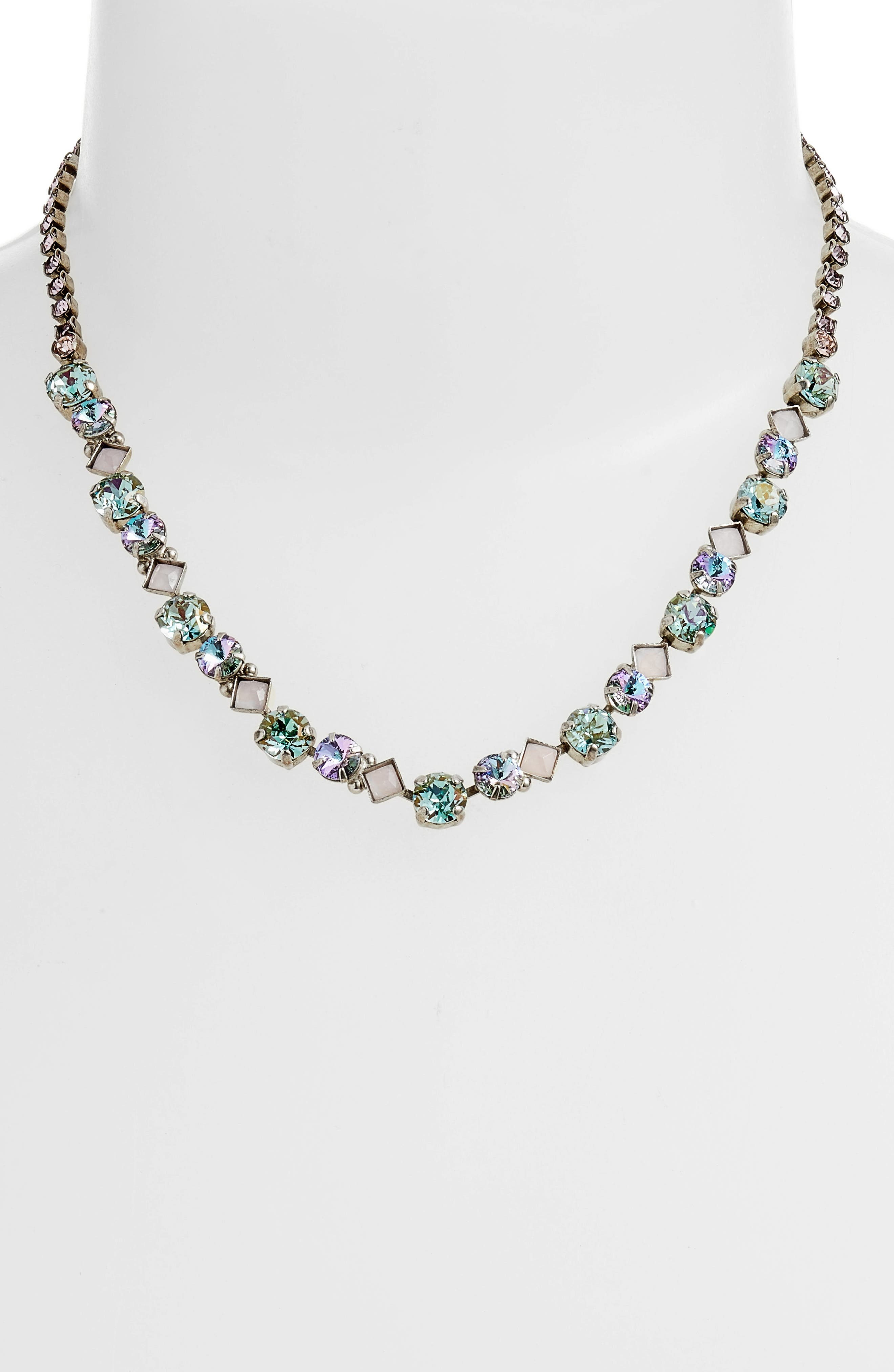 Dazzling Crystal Necklace,                             Alternate thumbnail 2, color,                             Purple