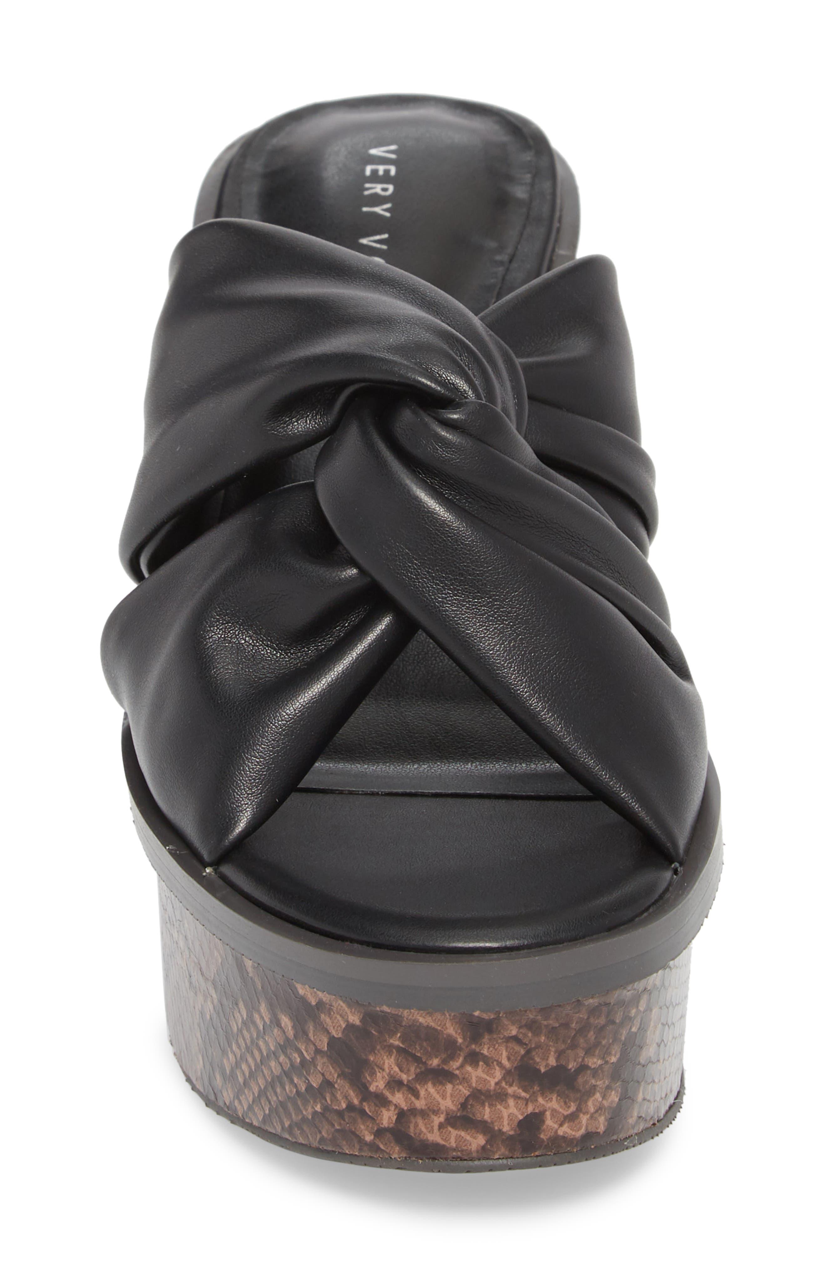 Ainsley Platform Sandal,                             Alternate thumbnail 4, color,                             Black
