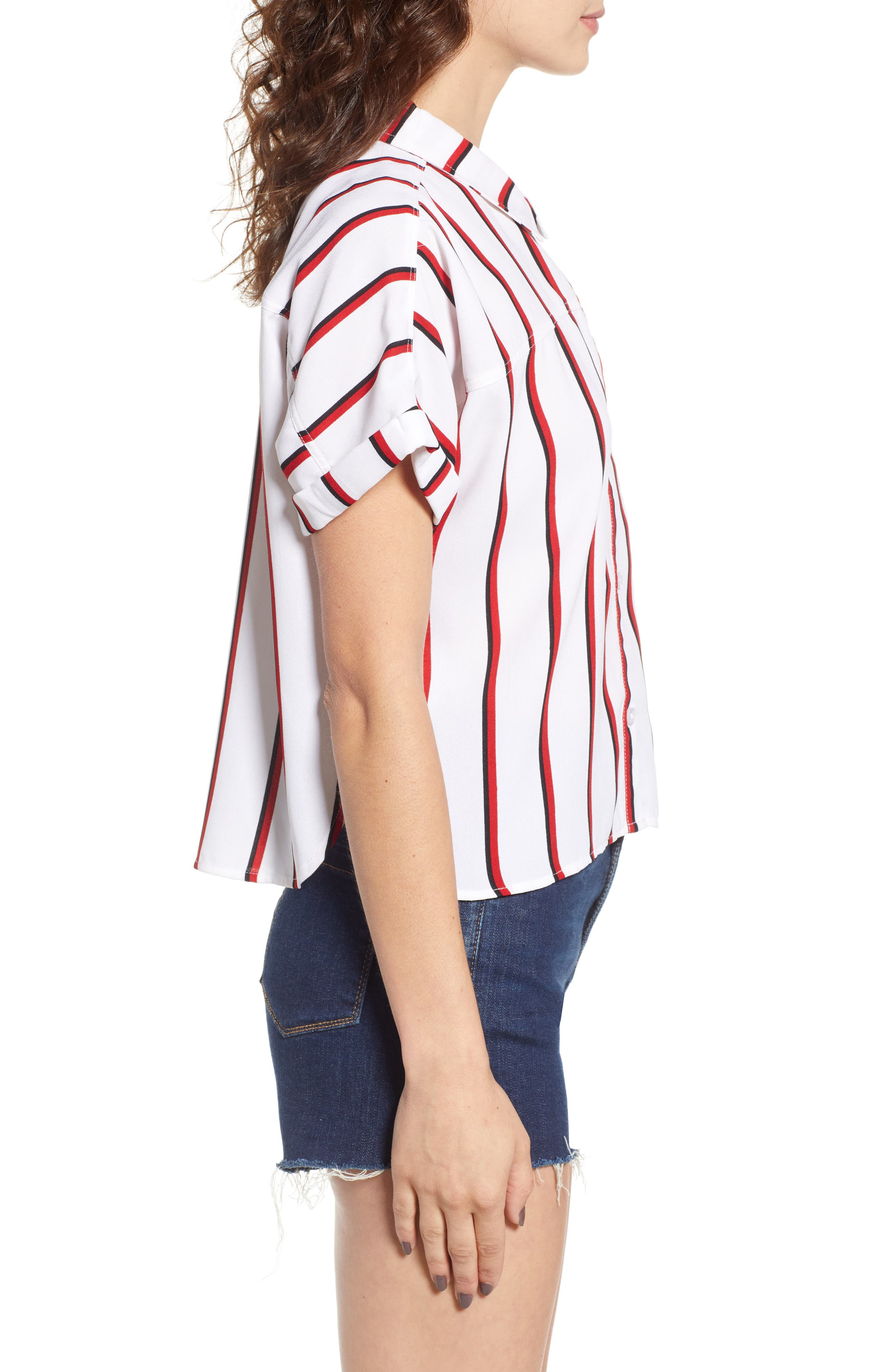 Counting Moons Stripe Top,                             Alternate thumbnail 3, color,                             Chili Red