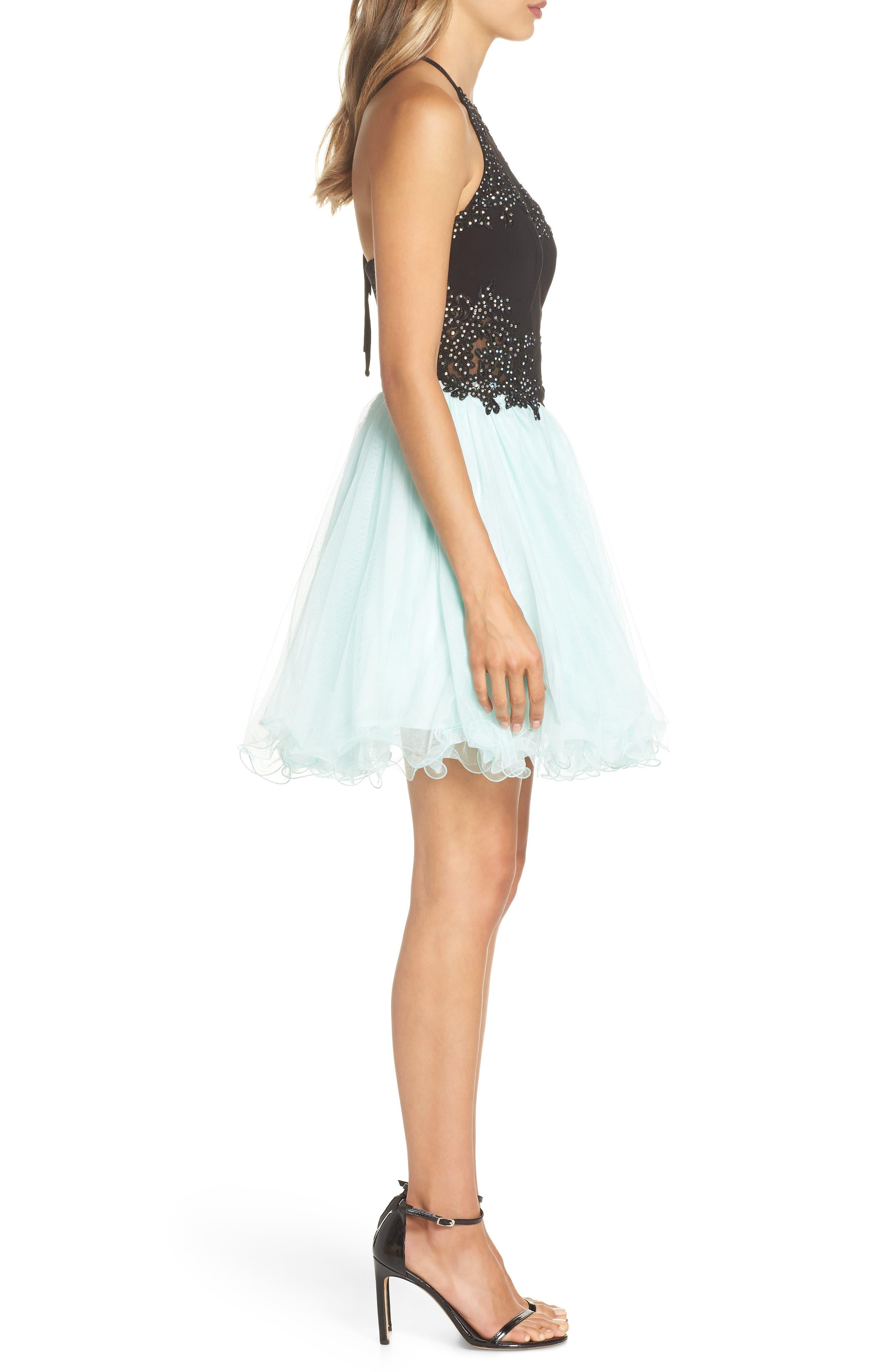 Appliqué Mesh Fit & Flare Halter Dress,                             Alternate thumbnail 3, color,                             Black/ Mint