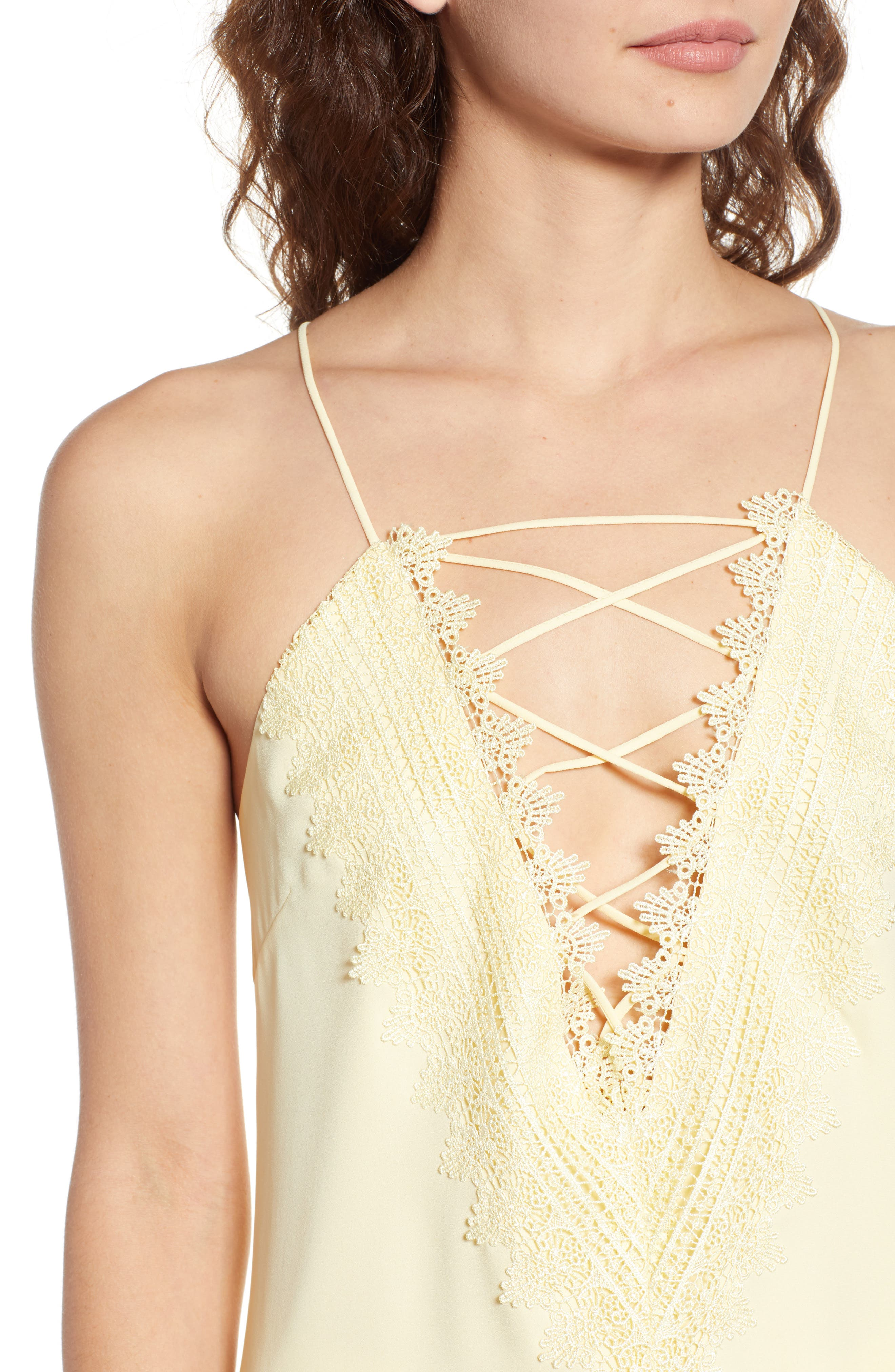 Posie Strappy Camisole,                             Alternate thumbnail 3, color,                             Yellow Pastel