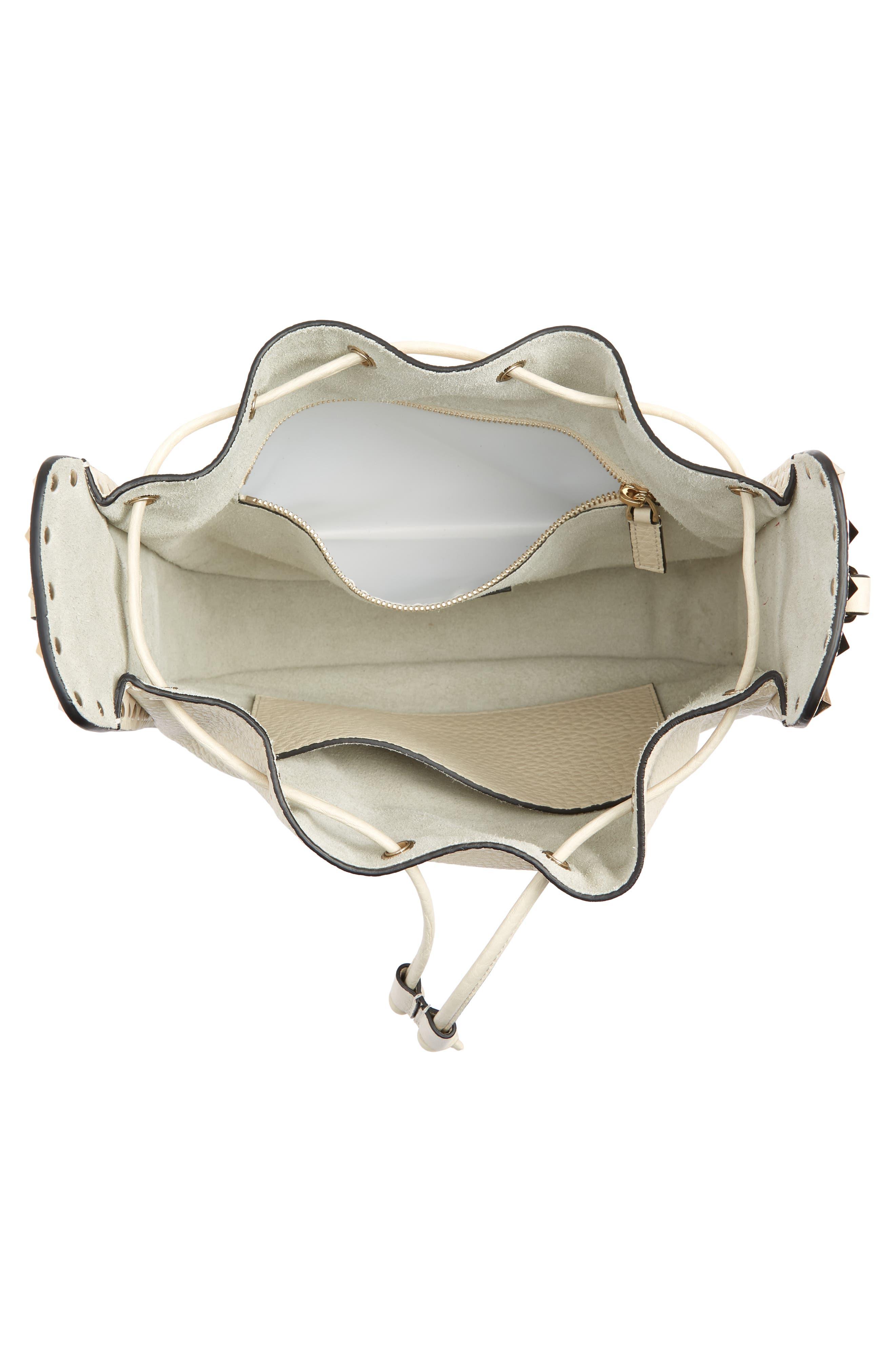Large Rockstud Leather Bucket Bag,                             Alternate thumbnail 4, color,                             Ivory/ Gold