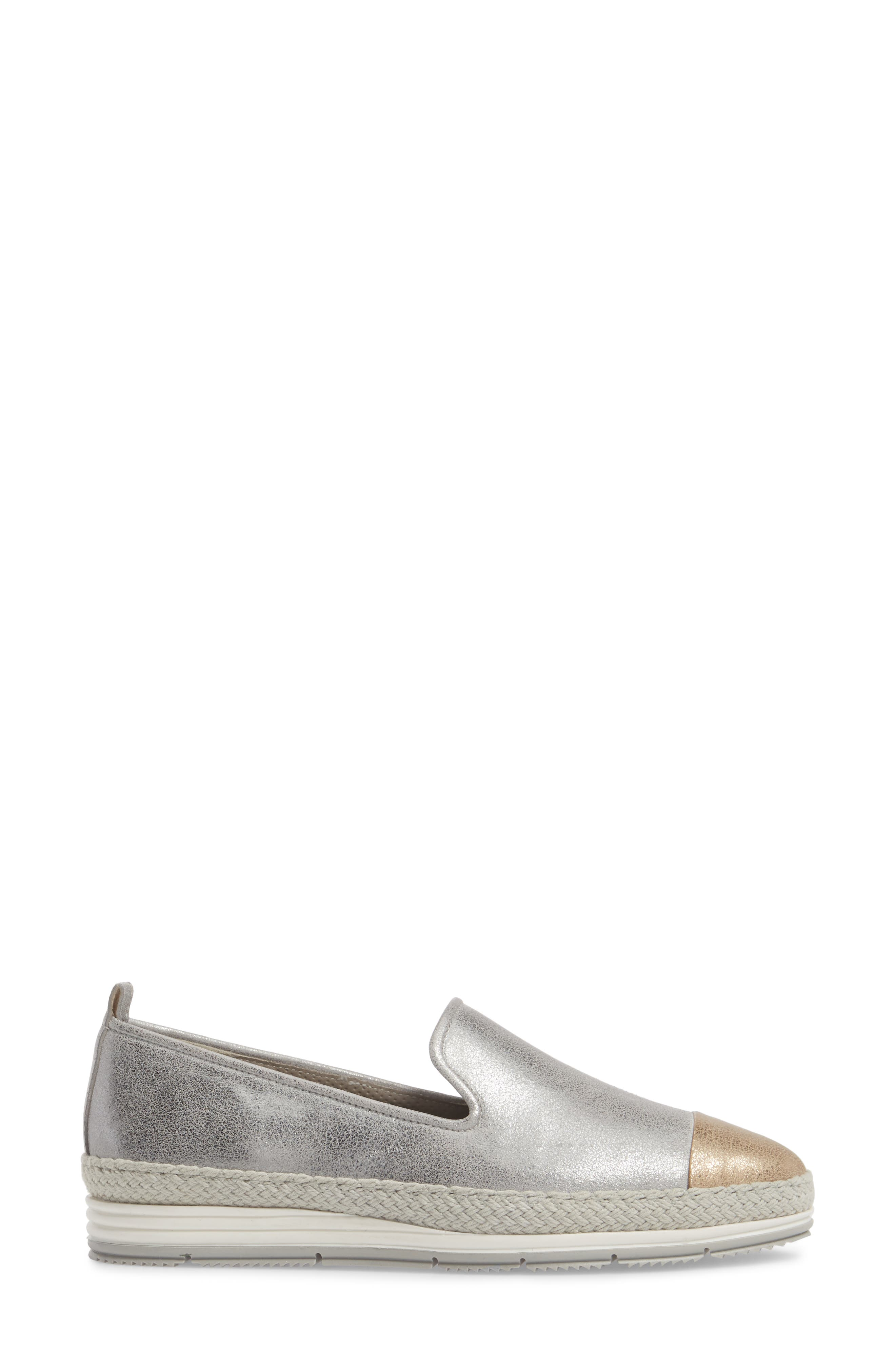 Posh Flat,                             Alternate thumbnail 3, color,                             Sabbia/ Platino Leather