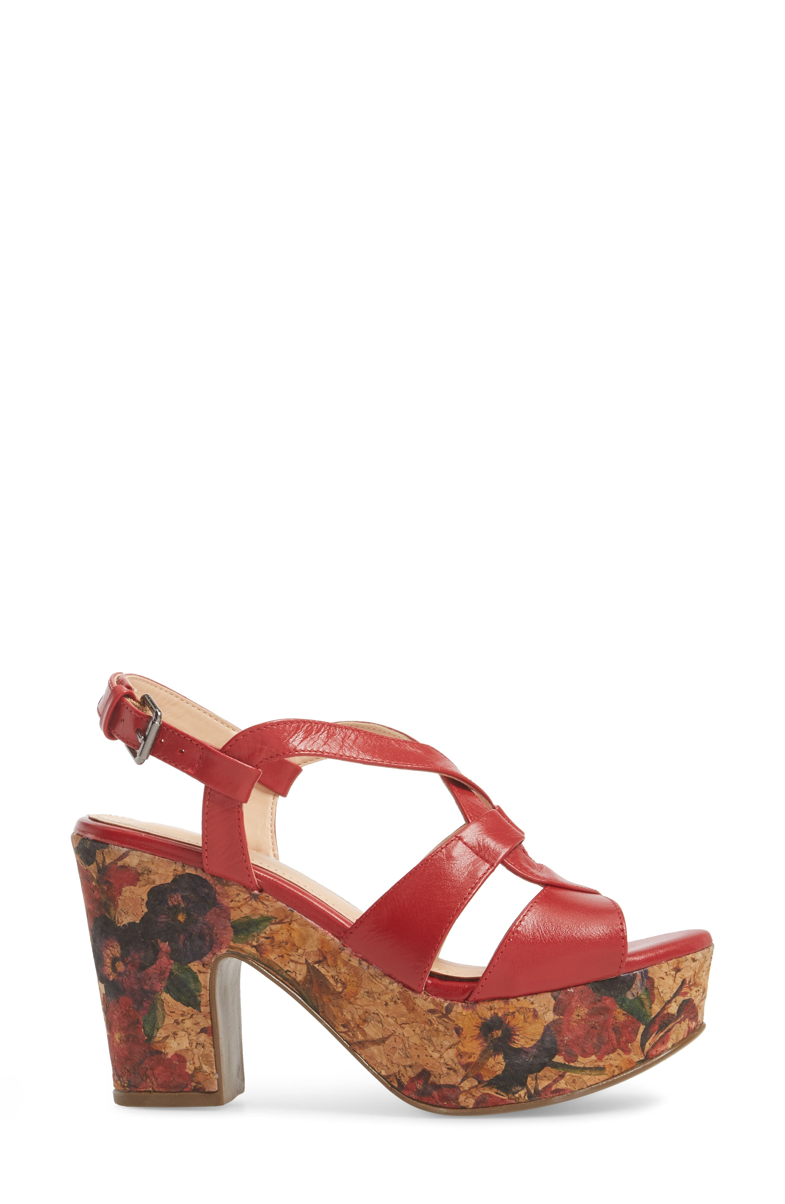 Victoria Platform Sandal,                             Alternate thumbnail 3, color,                             Red Leather