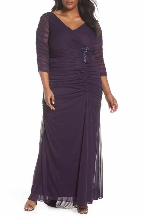 Adrianna Papell Beaded Mesh Gown Plus Size