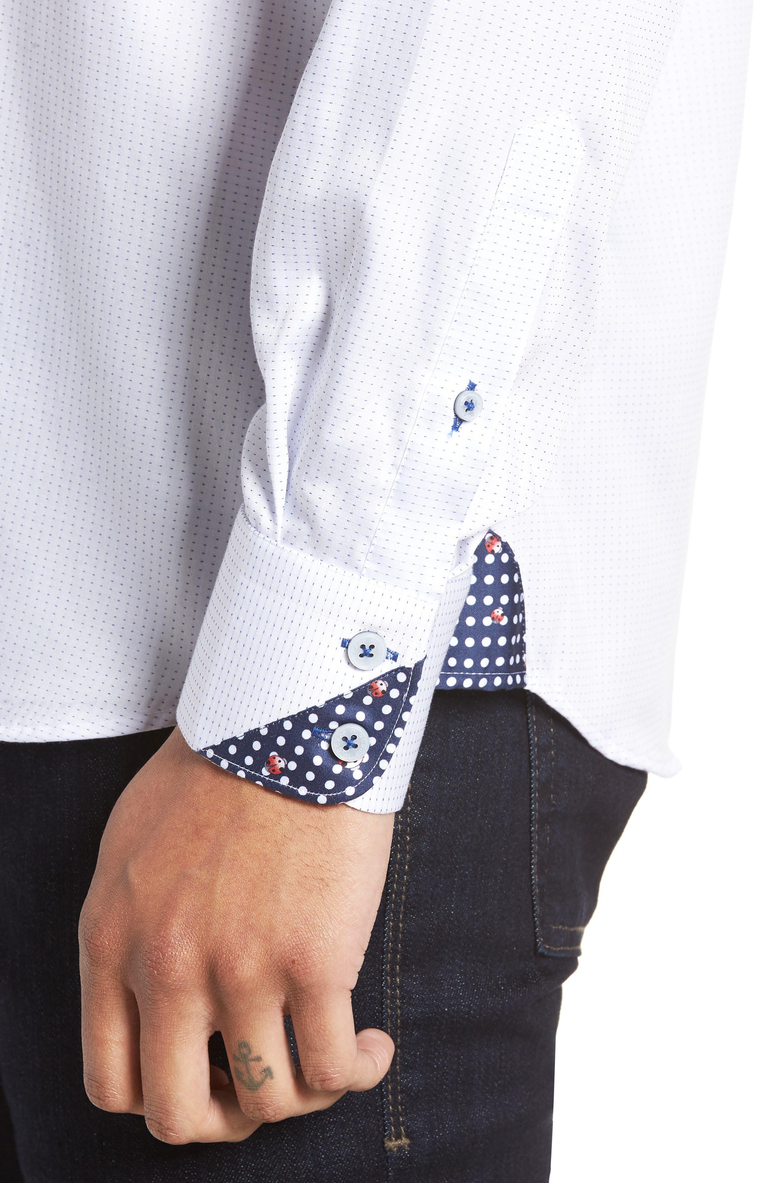Wall Street Chelsey Dobby Sport Shirt,                             Alternate thumbnail 2, color,                             White