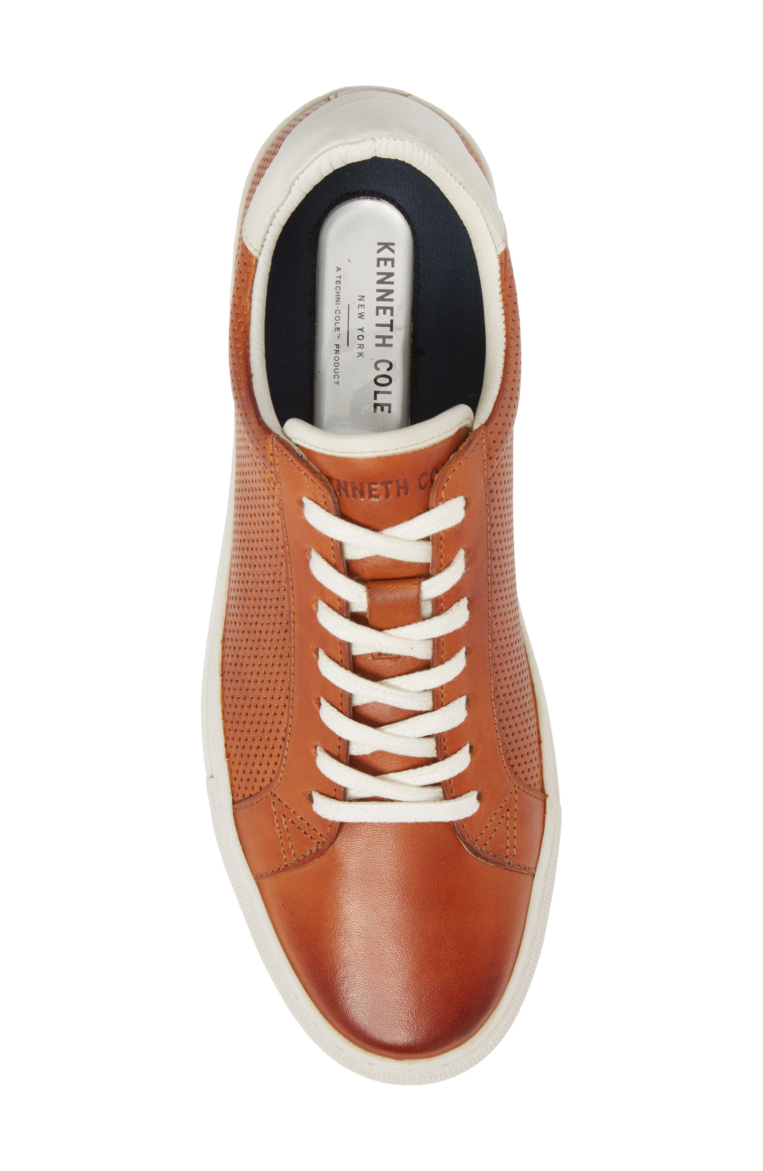 Don Embossed Lace-Up Sneaker,                             Alternate thumbnail 5, color,                             Cognac Leather