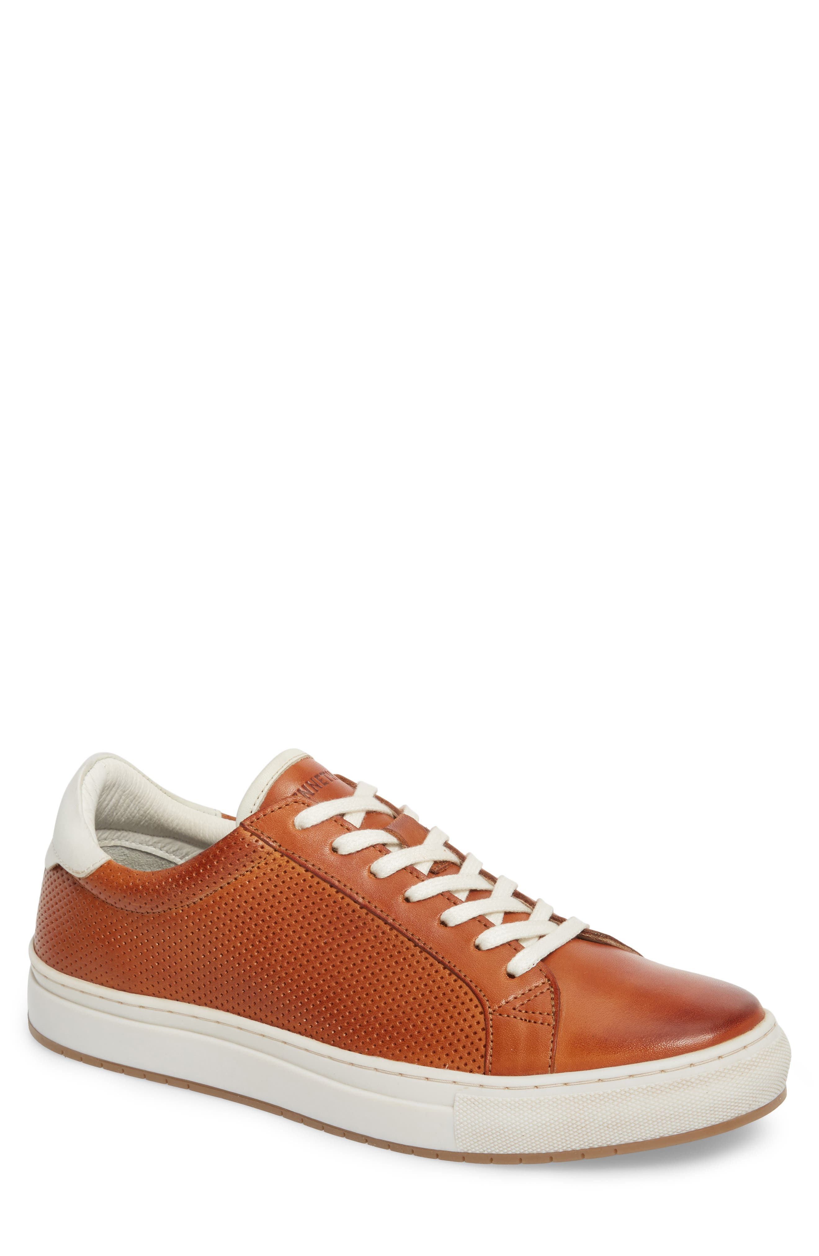 Don Embossed Lace-Up Sneaker,                         Main,                         color, Cognac Leather