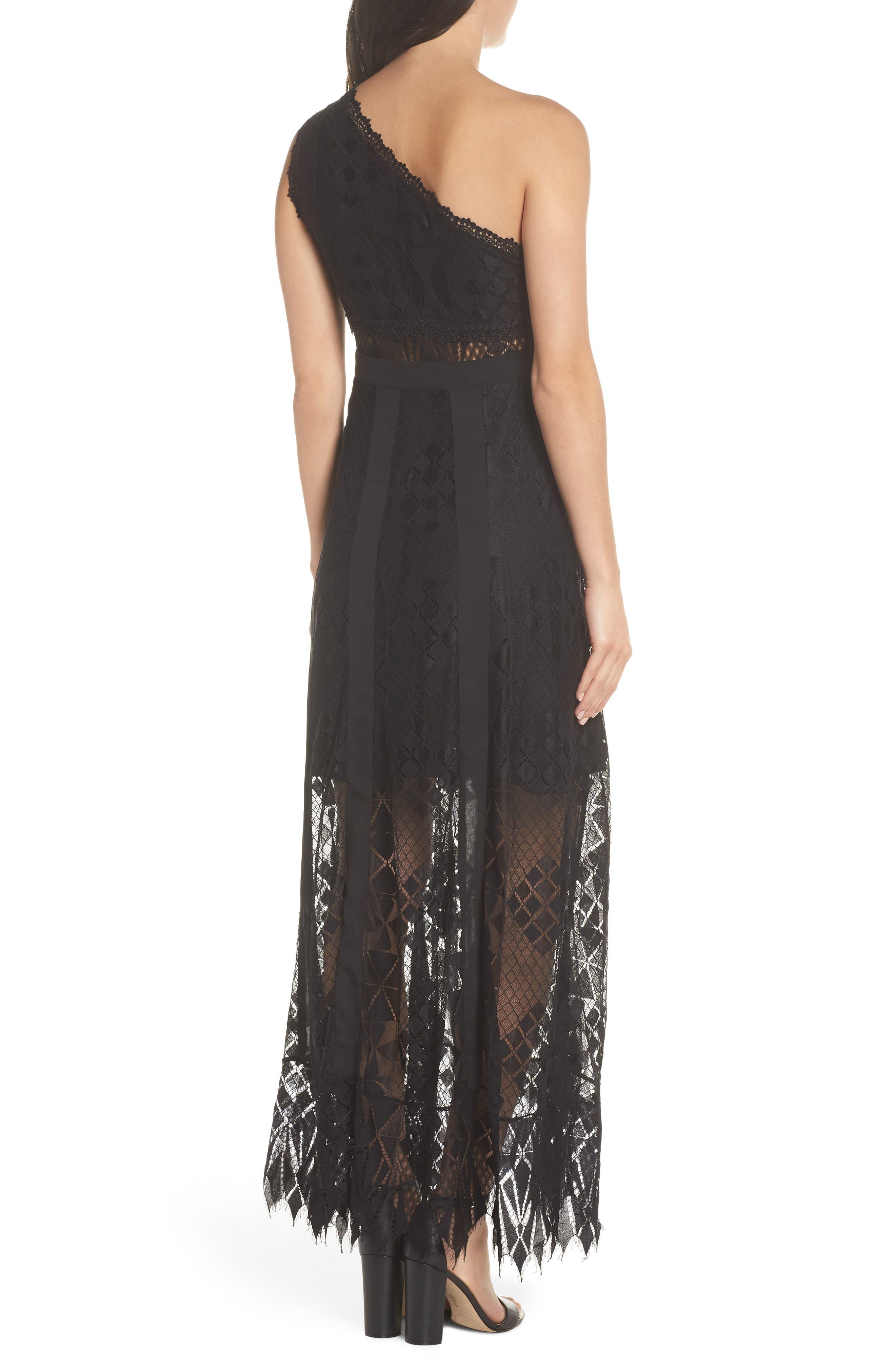 Juliet One-Shoulder Lace Gown,                             Alternate thumbnail 2, color,                             Black/ Black