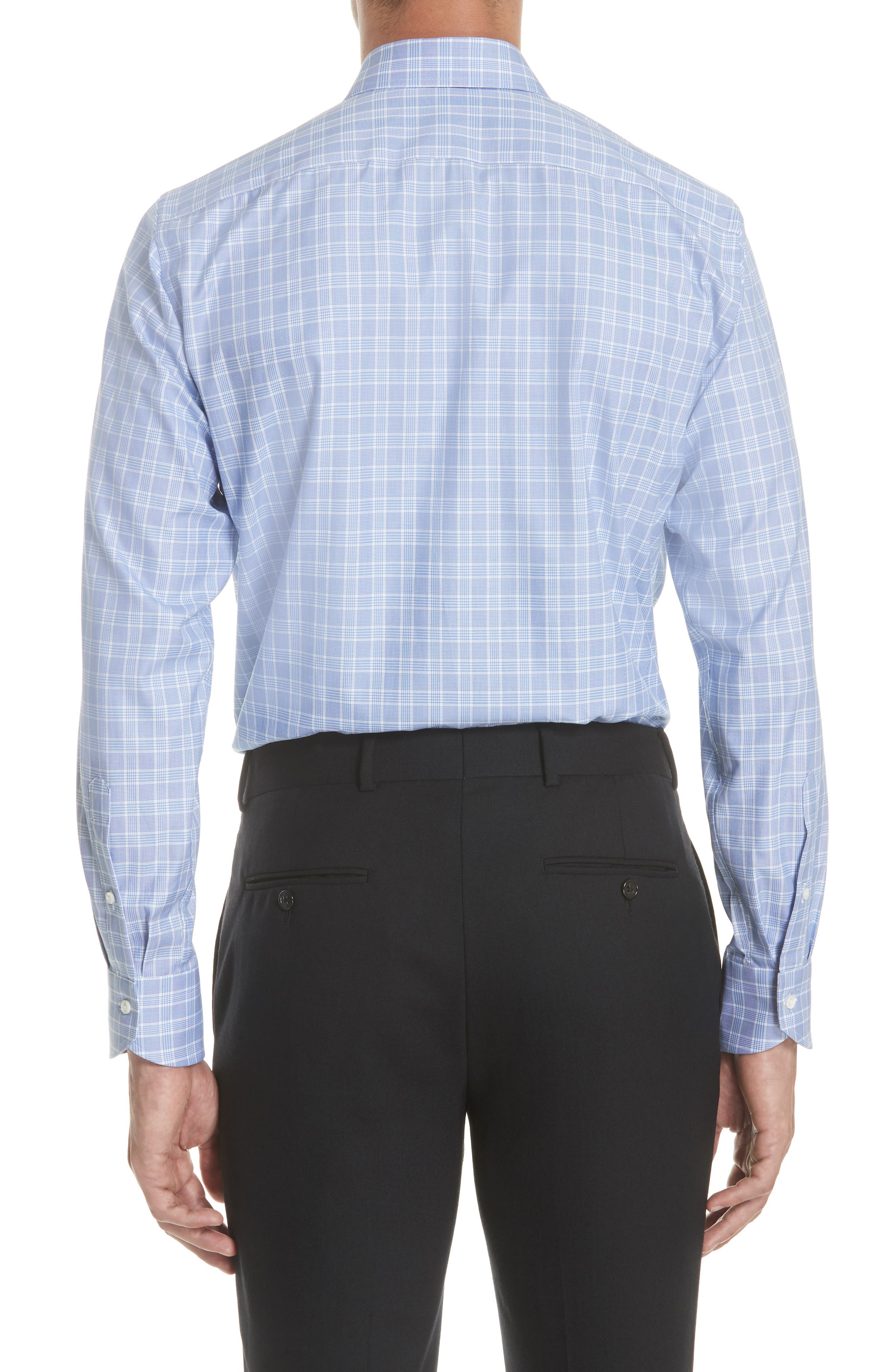Regular Fit Check Dress Shirt,                             Alternate thumbnail 3, color,                             Brt Blue