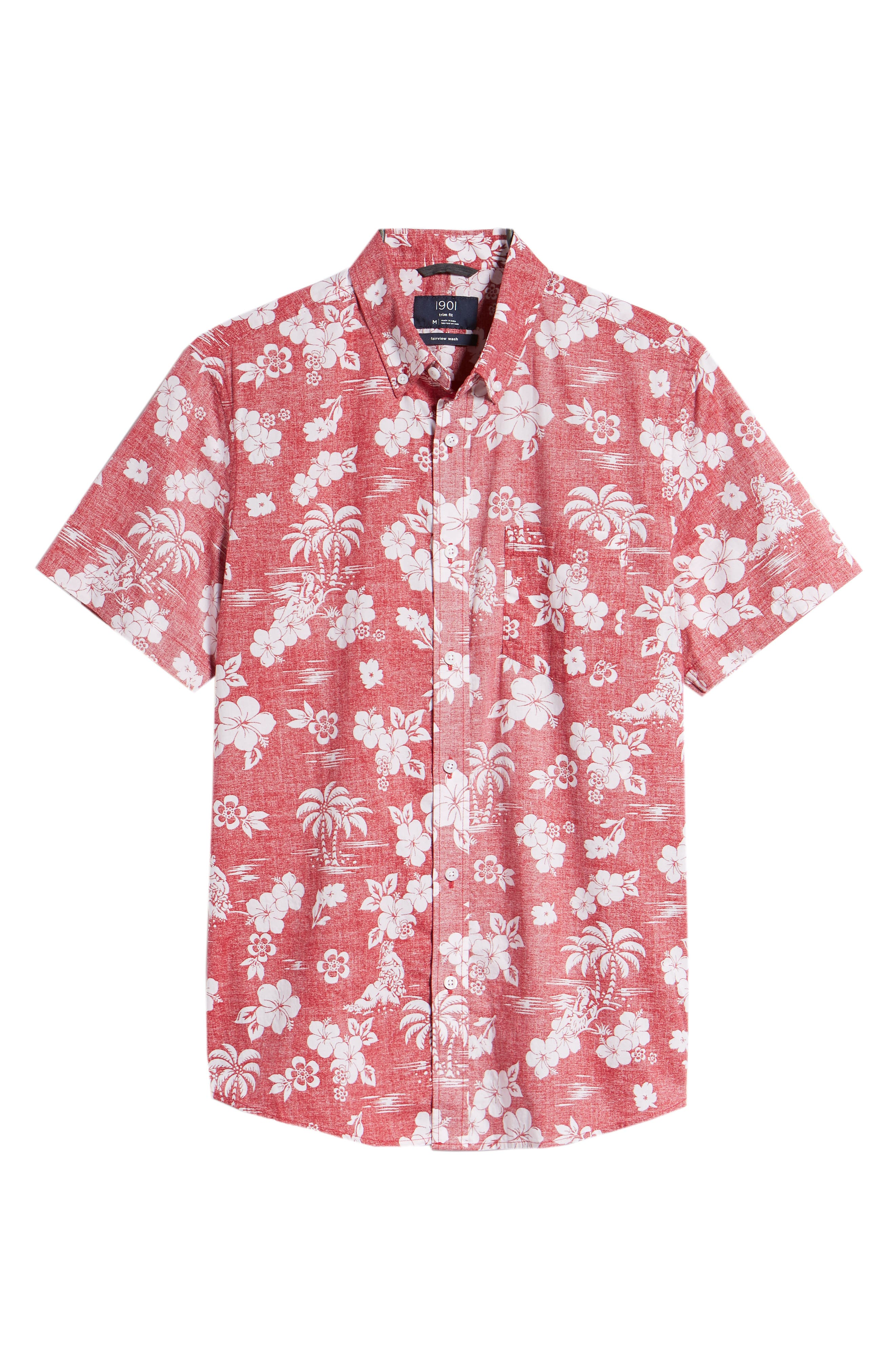 Trim Fit Island Print Sport Shirt,                             Alternate thumbnail 6, color,                             Red Pompeii Hula Girls