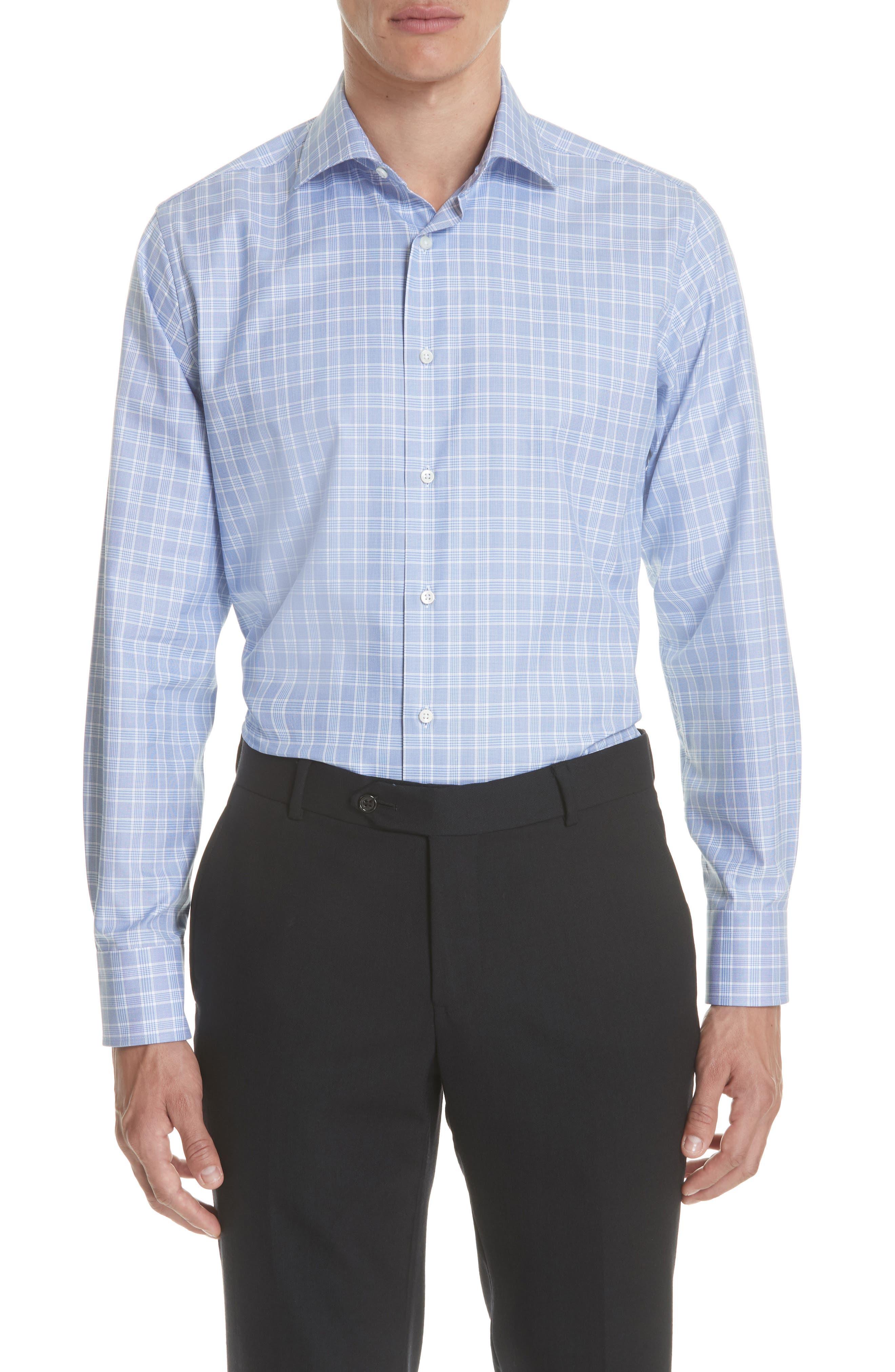 Regular Fit Check Dress Shirt,                         Main,                         color, Brt Blue