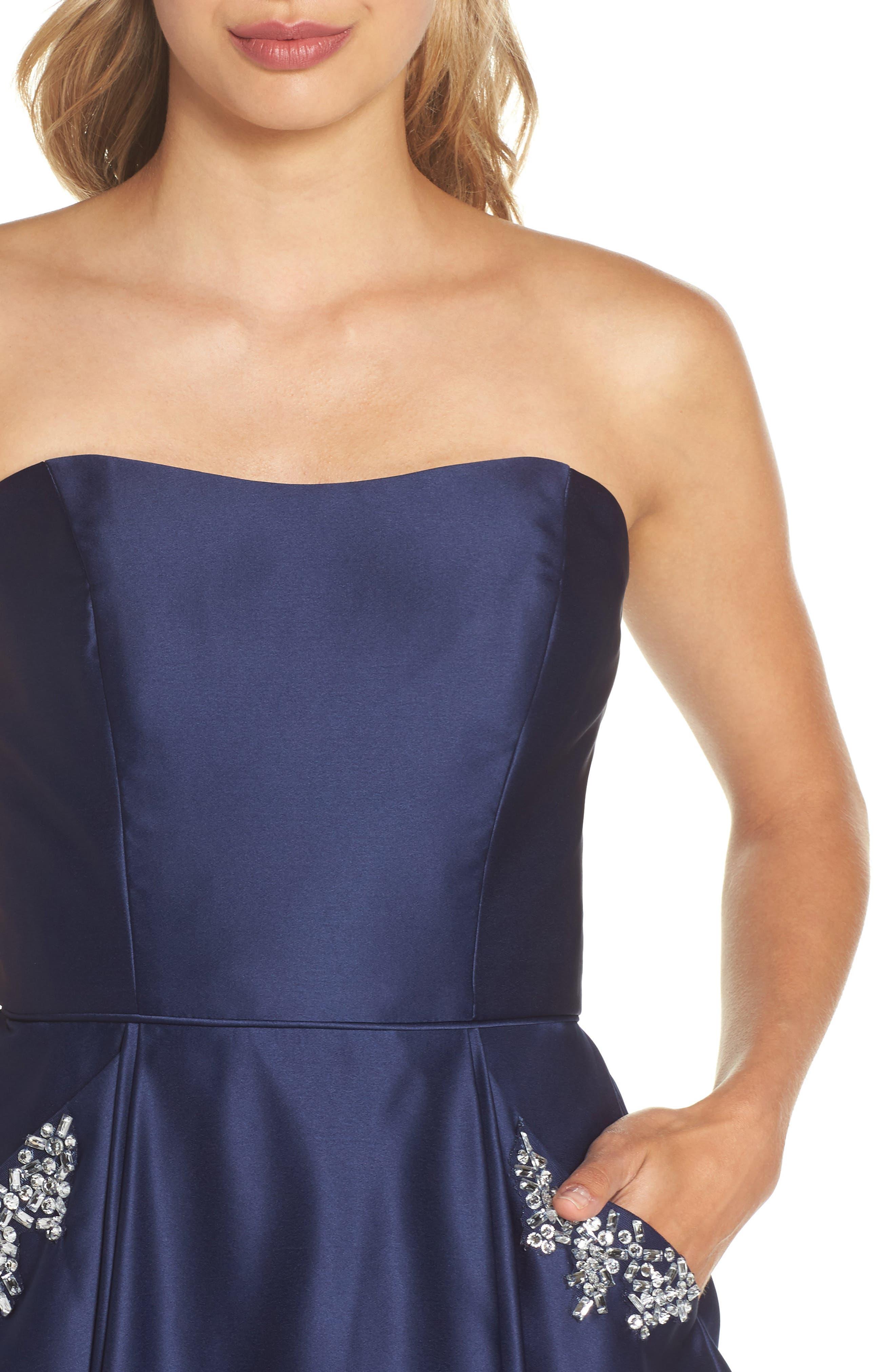 Embellished Satin Fit & Flare Dress,                             Alternate thumbnail 4, color,                             Navy
