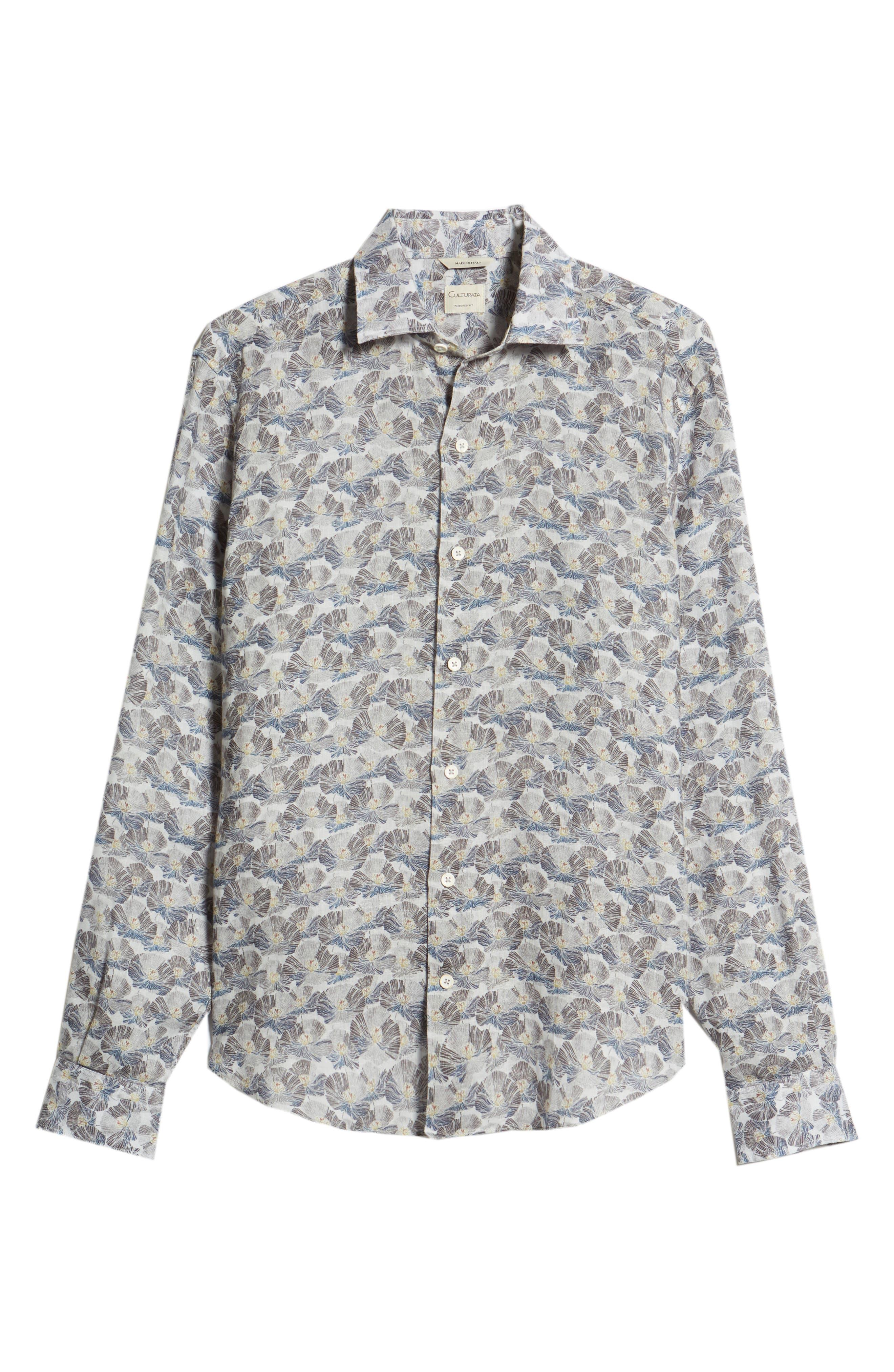 Trim Fit Print Linen Sport Shirt,                             Alternate thumbnail 5, color,                             Grey