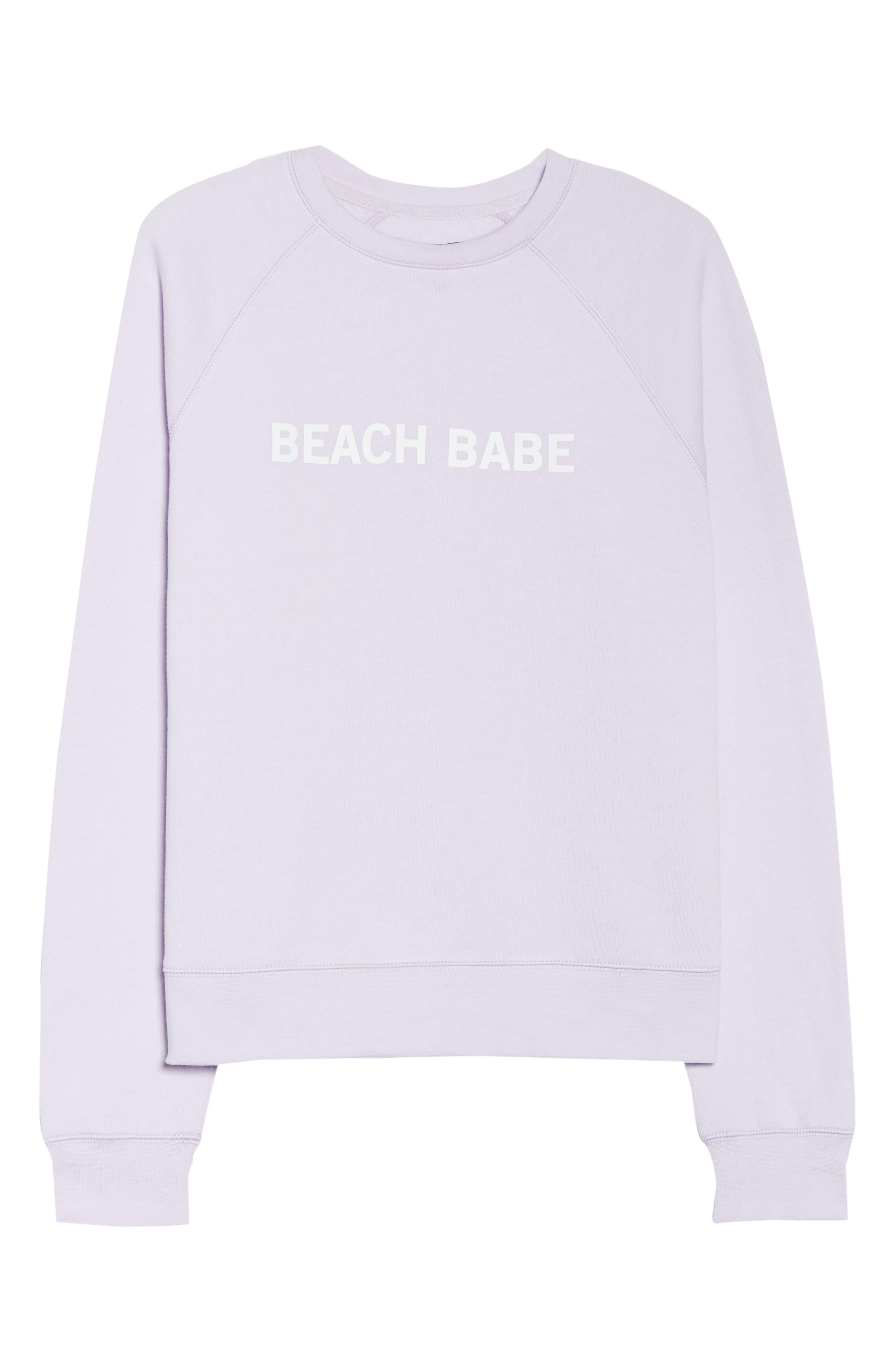 Beach Babe Middle Sister Crewneck Sweatshirt,                             Alternate thumbnail 6, color,                             Soft Lavender