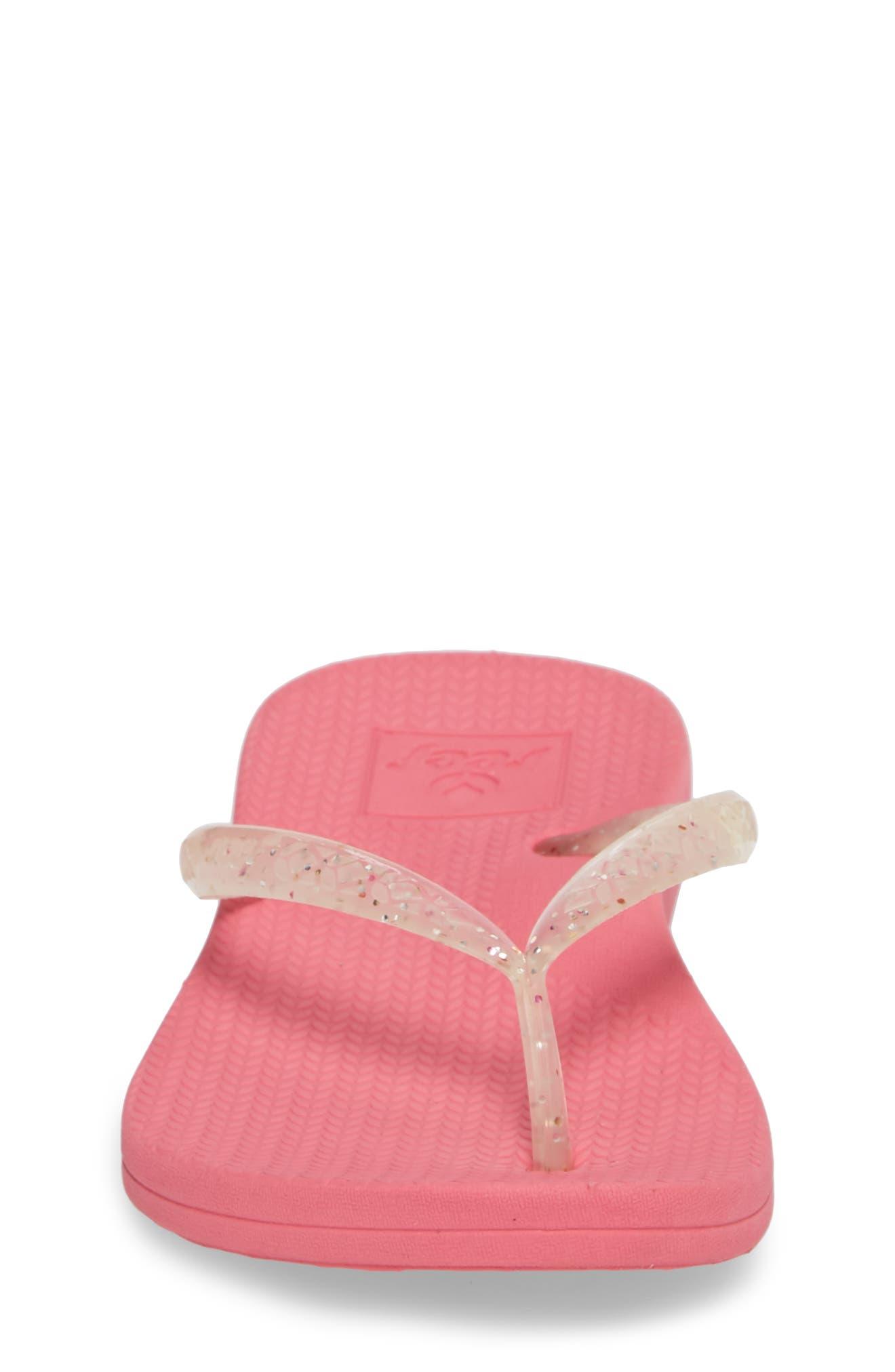 Little Reef Escape Shimmer Flip Flops,                             Alternate thumbnail 4, color,                             Pink
