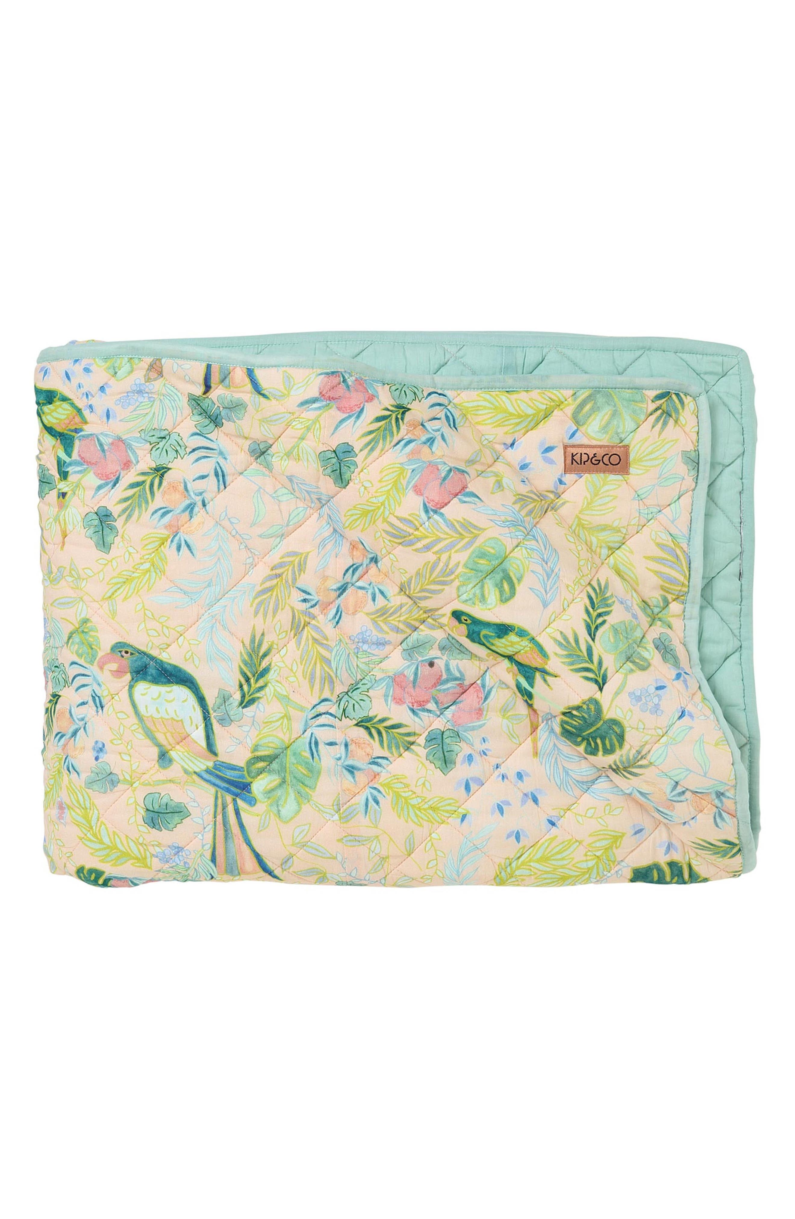Birds of Paradise Quilted Cotton Comforter,                         Main,                         color, Multi