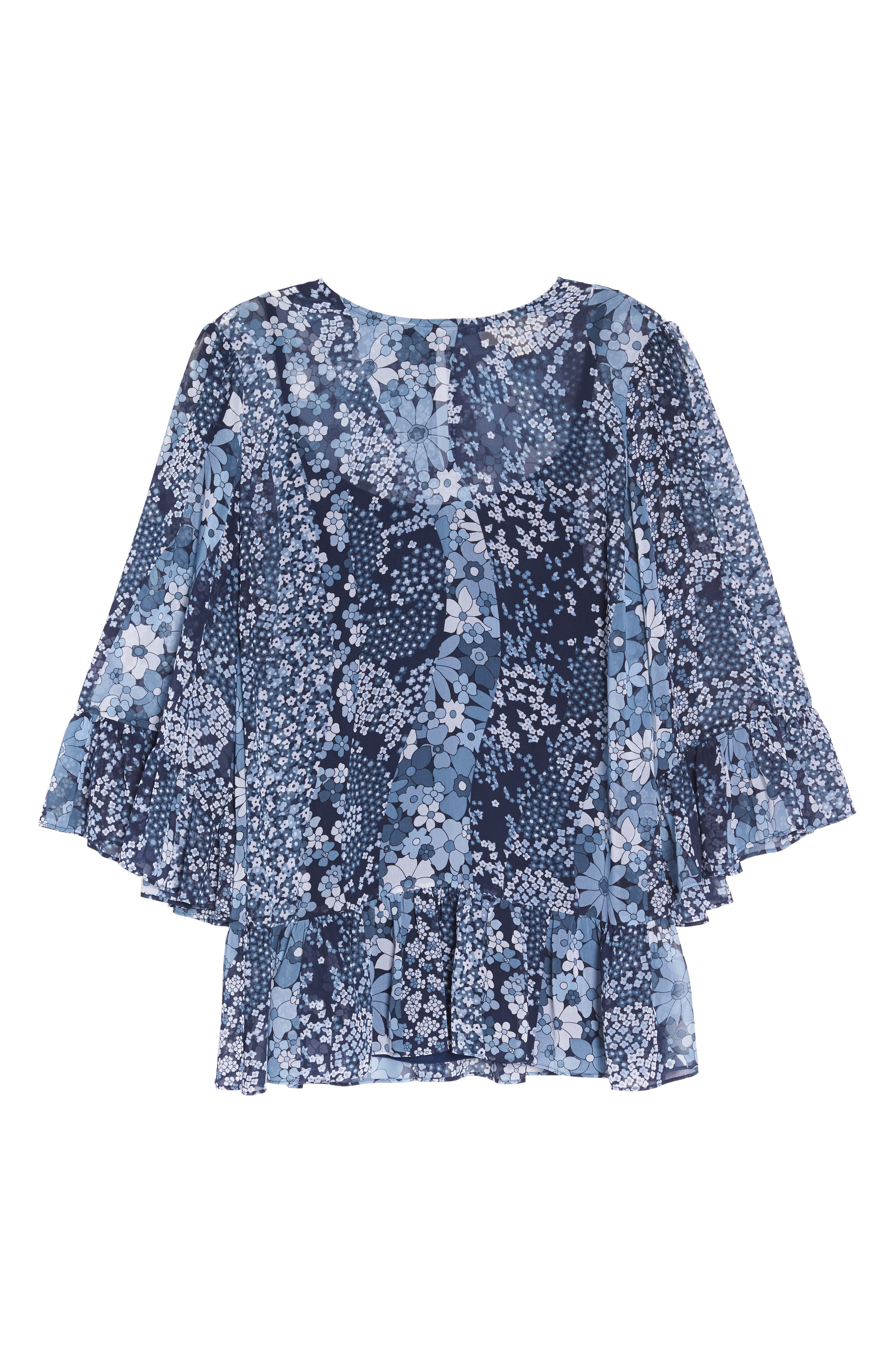Patchwork Flowers Top,                             Alternate thumbnail 7, color,                             True Navy/ Light Chambray