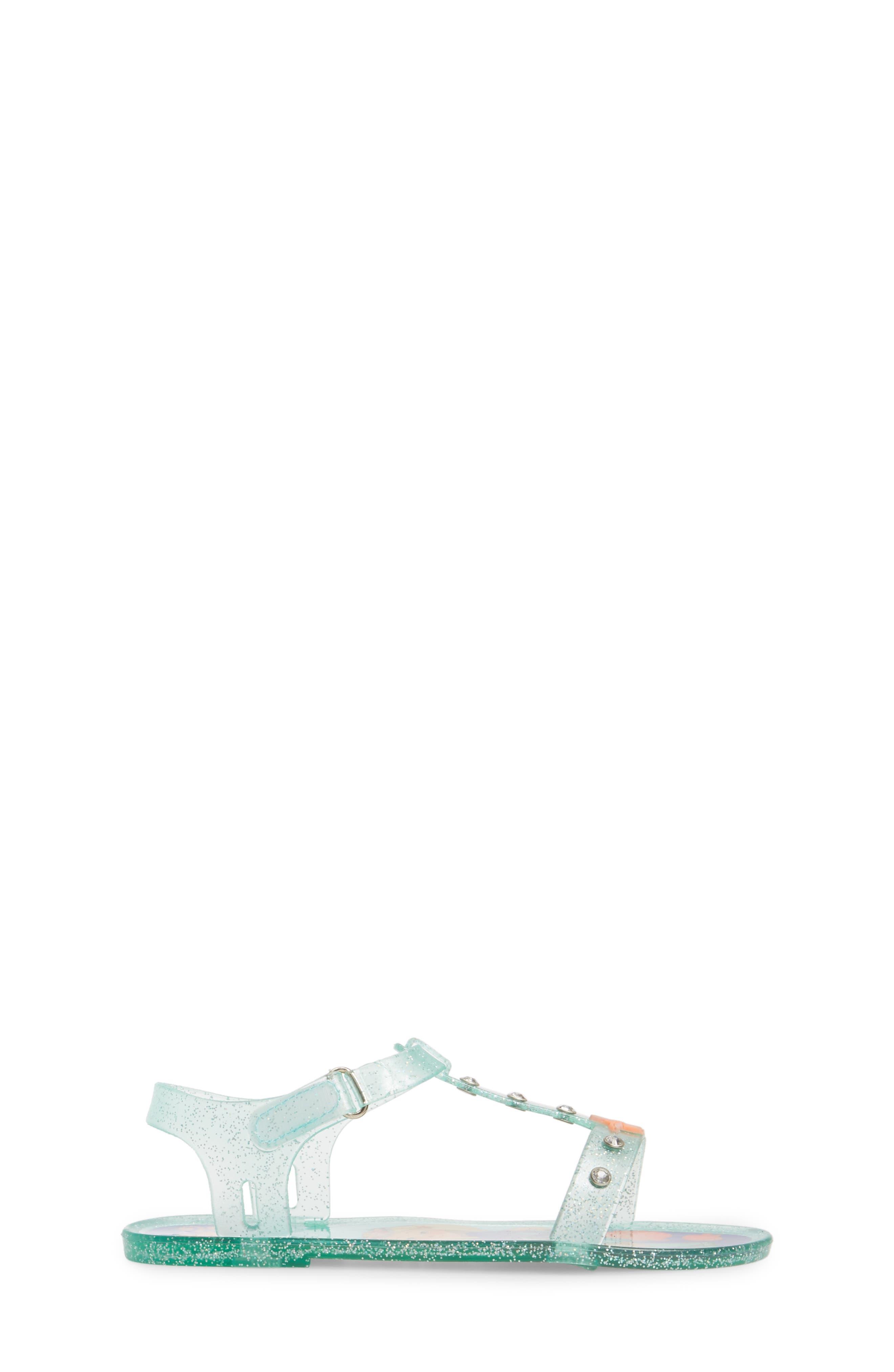 Camille Glitter Jelly Sandal,                             Alternate thumbnail 3, color,                             Beach Glass