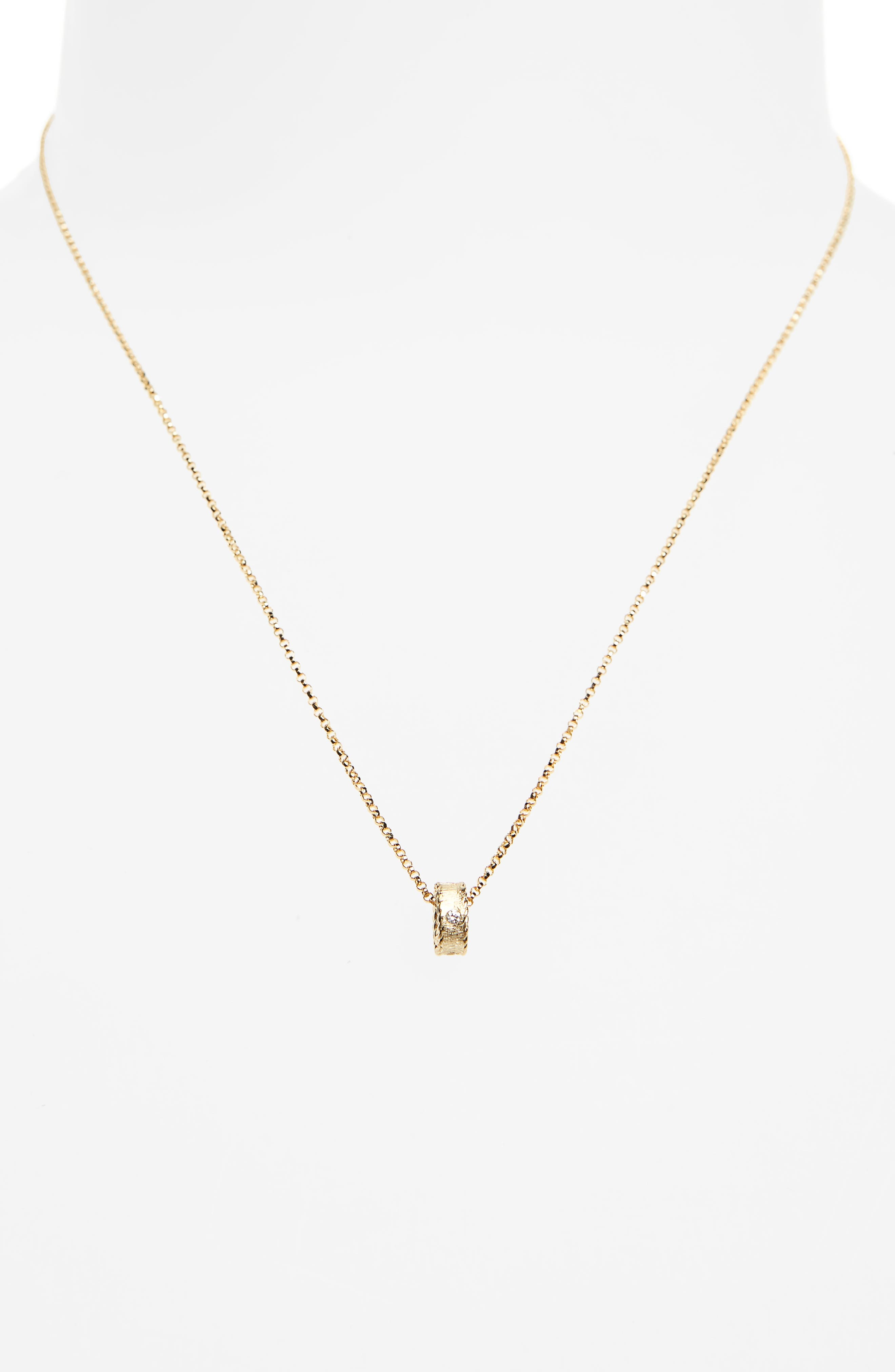 Diamond Princess Pendant Necklace,                             Alternate thumbnail 2, color,                             Yellow Gold