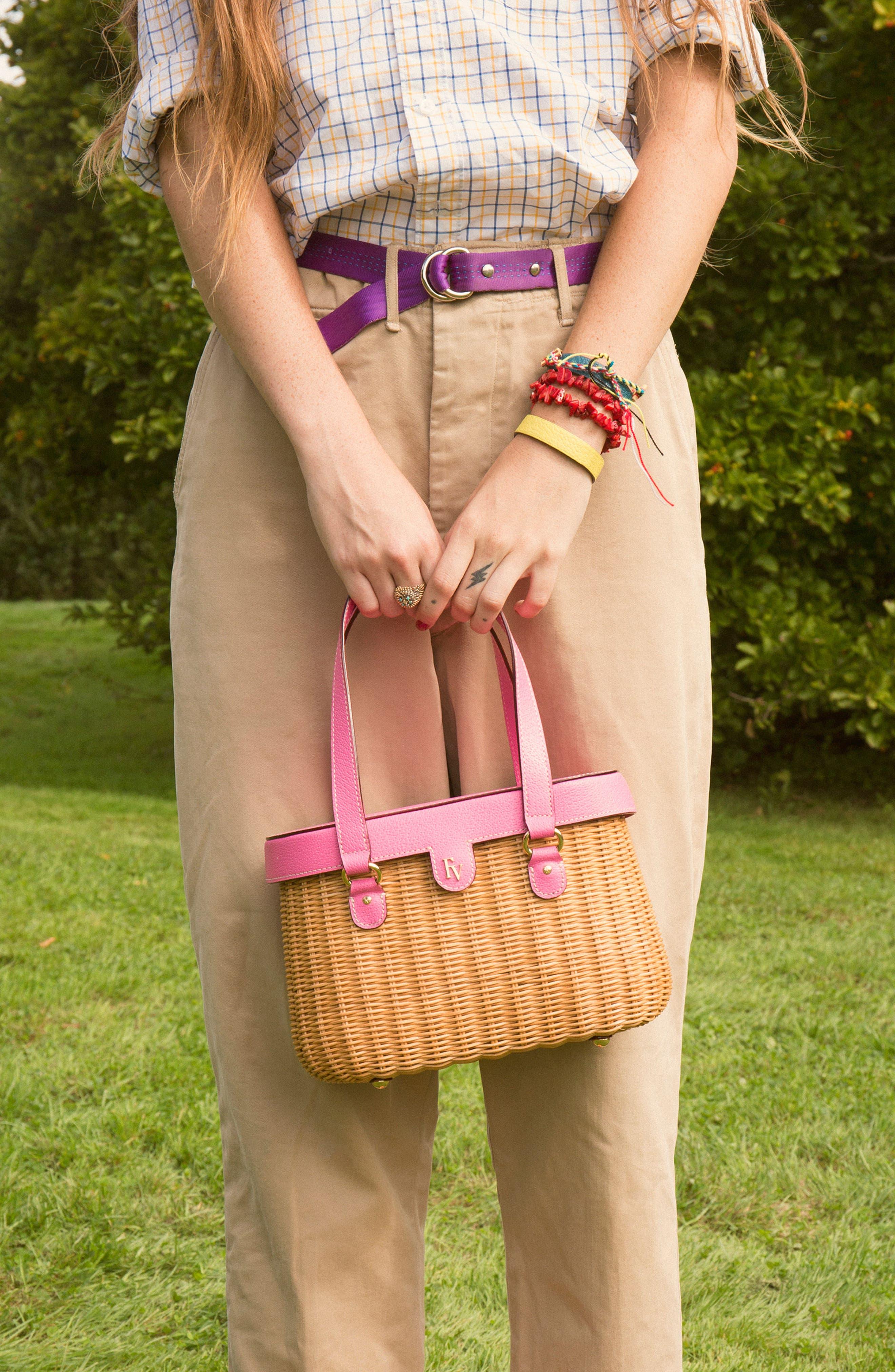 Wicker Basket Shoulder Bag,                             Alternate thumbnail 5, color,