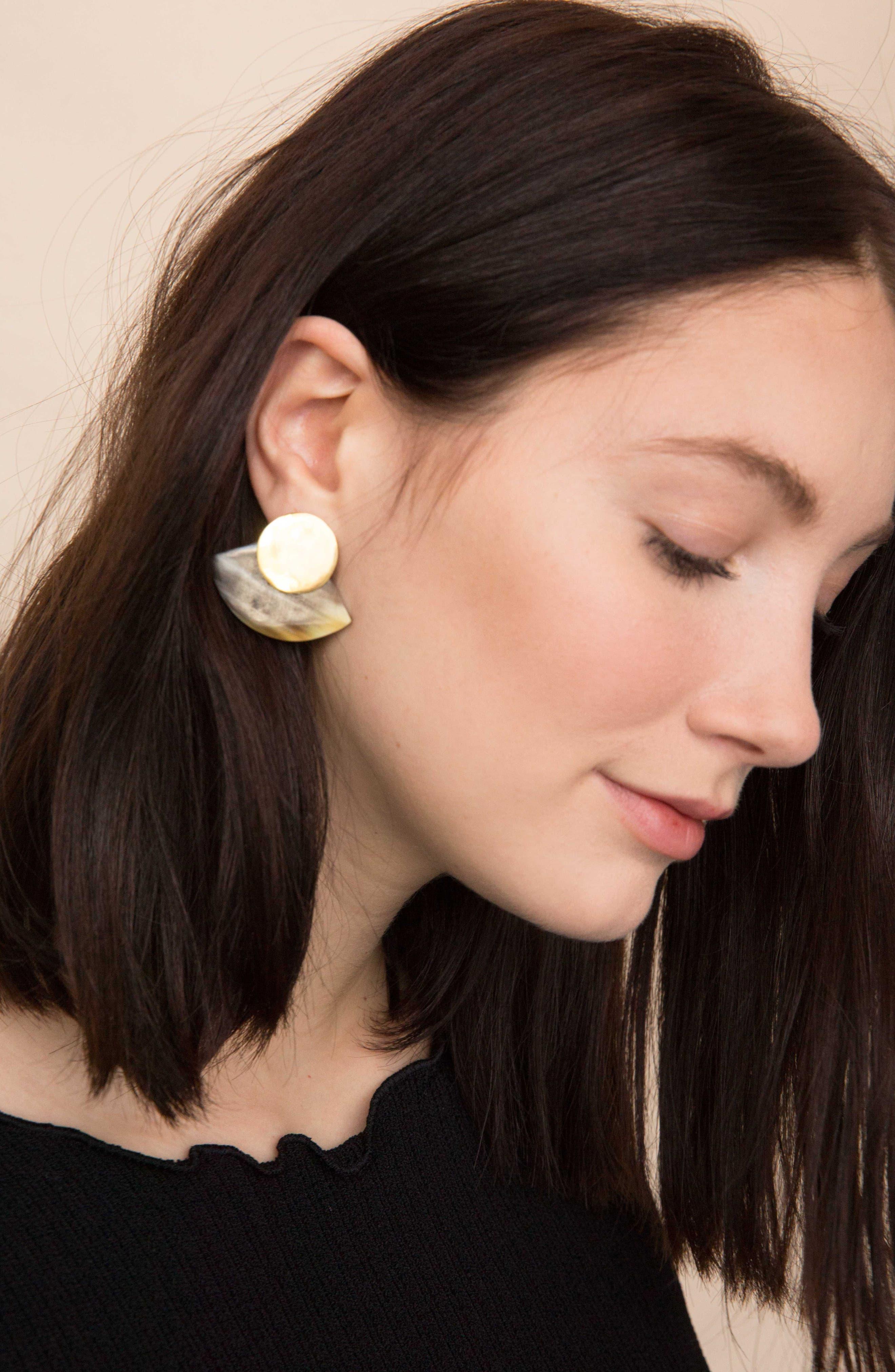 Horn Paddle Stud Earrings,                             Alternate thumbnail 3, color,                             Natural/ Brass