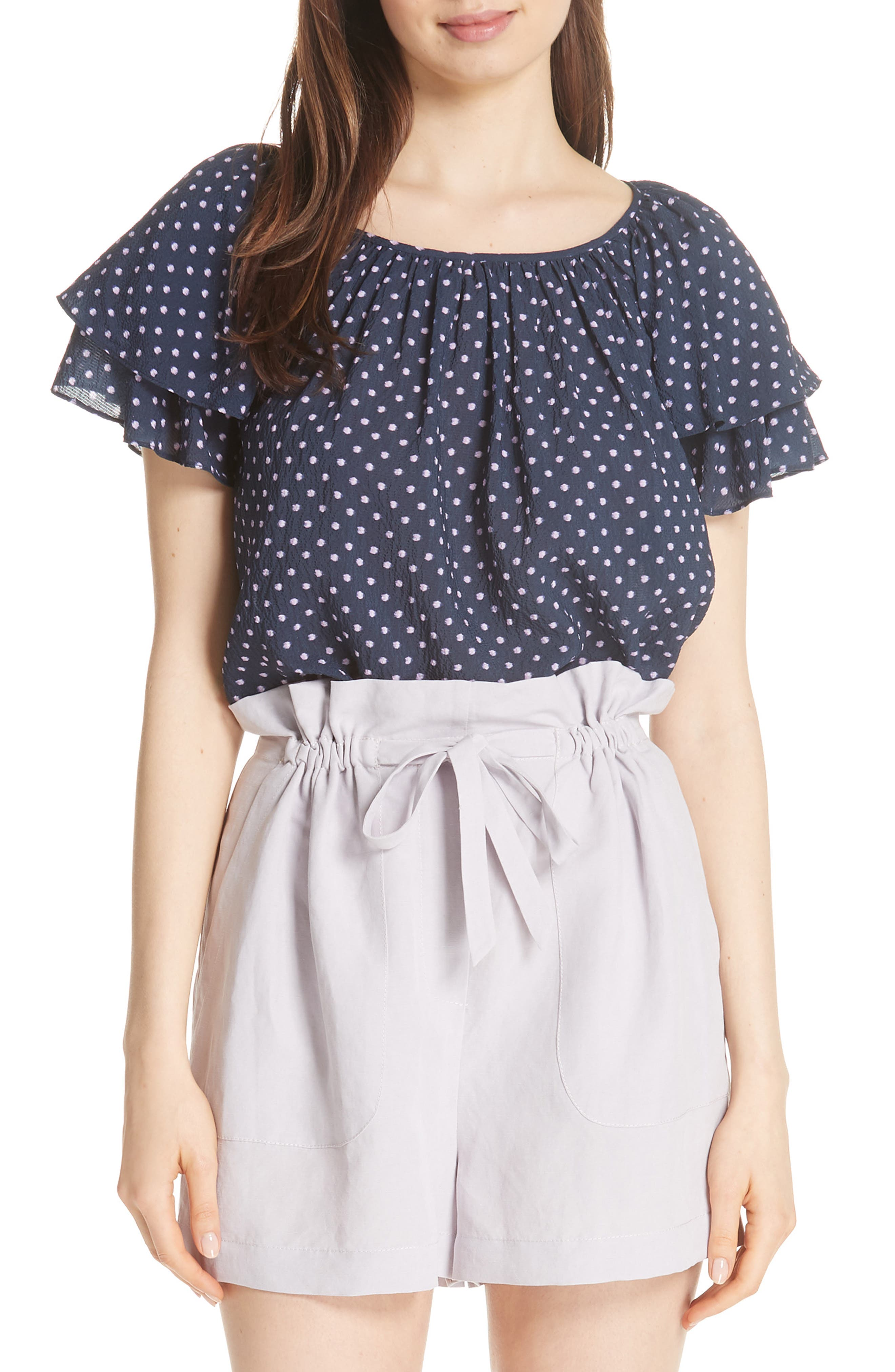 Ikat Dot Ruffle Sleeve Top,                         Main,                         color, Navy Combo