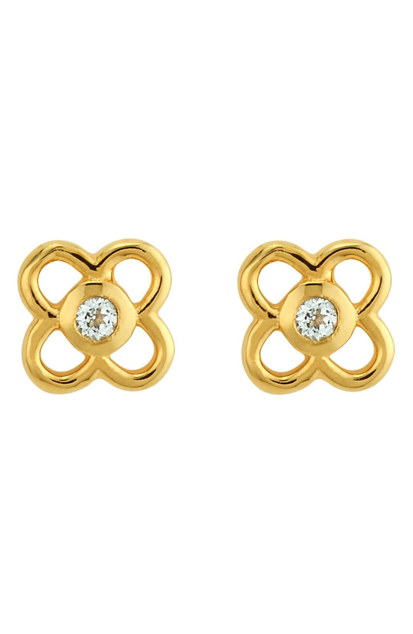 Petite Paloma Stud Earrings,                             Main thumbnail 1, color,                             Crystal/ Gold