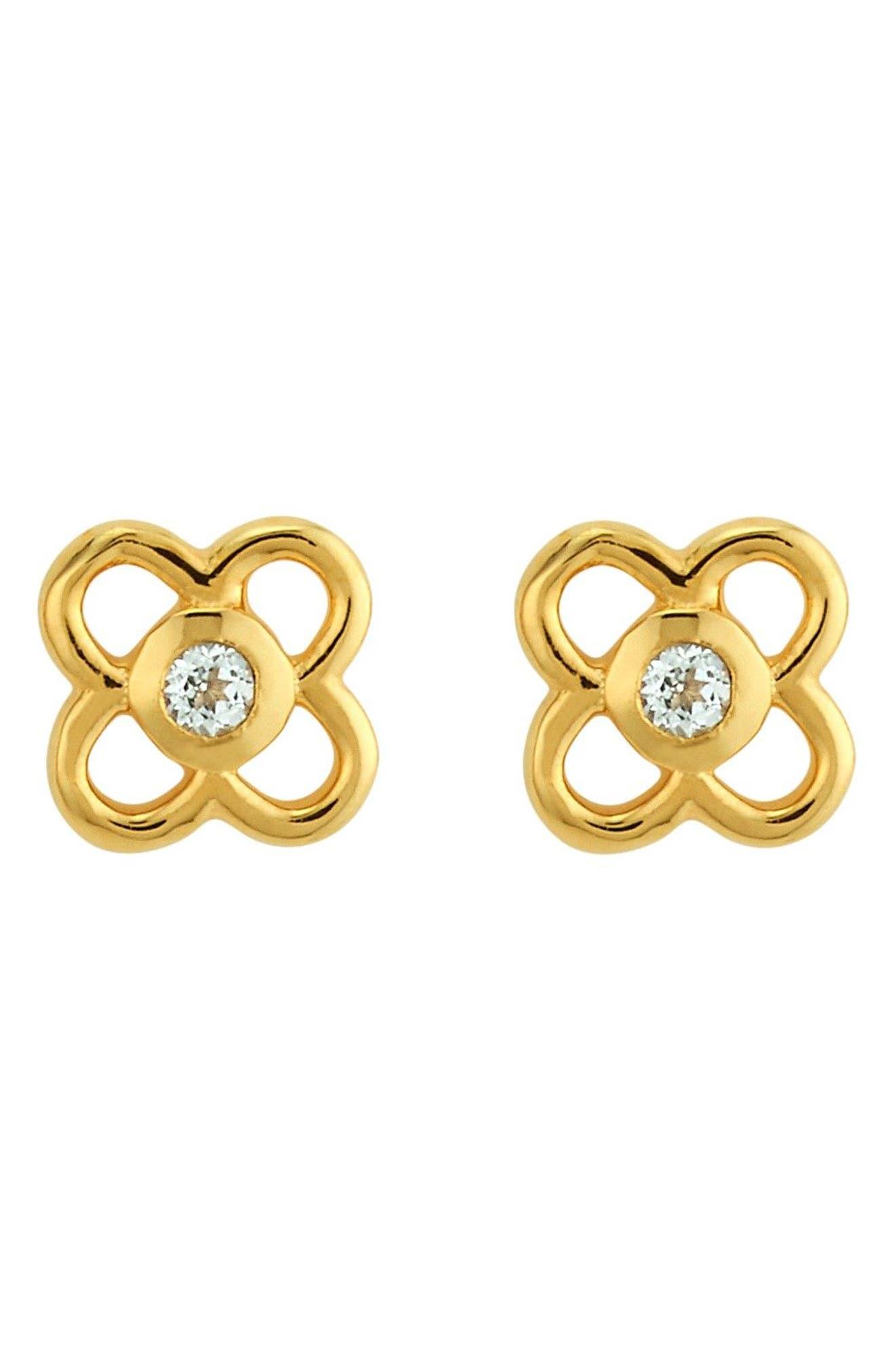 Petite Paloma Stud Earrings,                         Main,                         color, Crystal/ Gold
