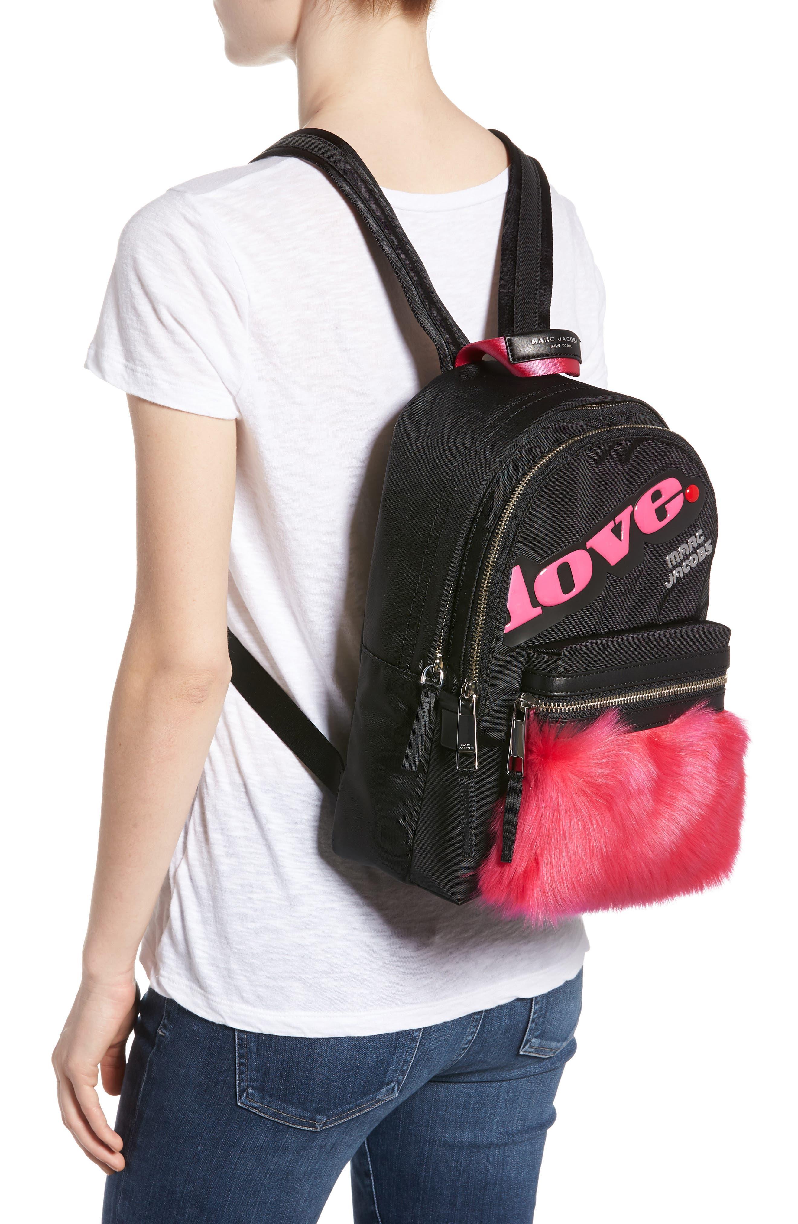 Love Medium Trek Nylon & Genuine Shearling Backpack,                             Alternate thumbnail 2, color,                             Black Multi