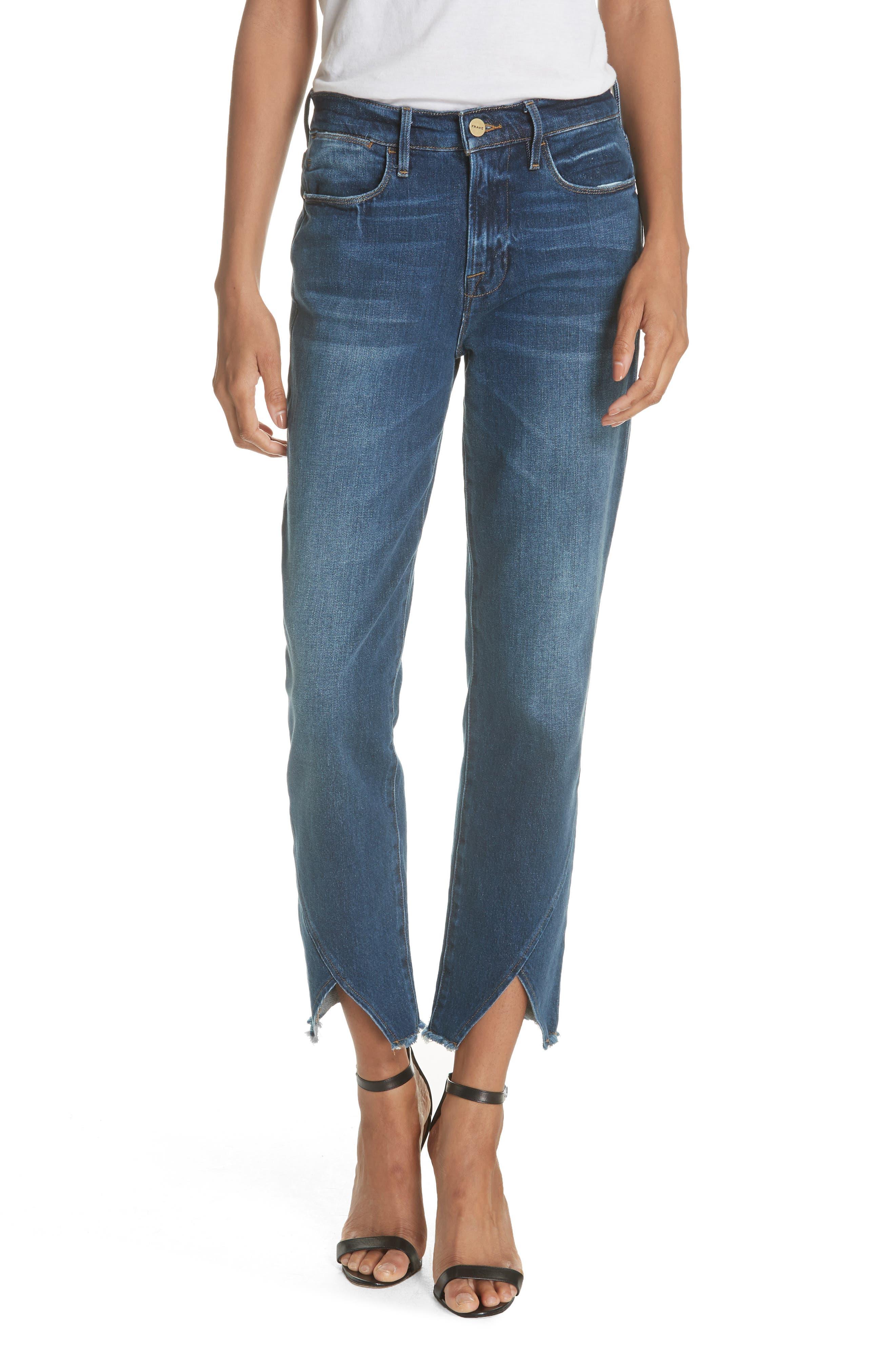 Le High Straight Asymmetrical Hem Jeans,                             Main thumbnail 1, color,                             Kingsway