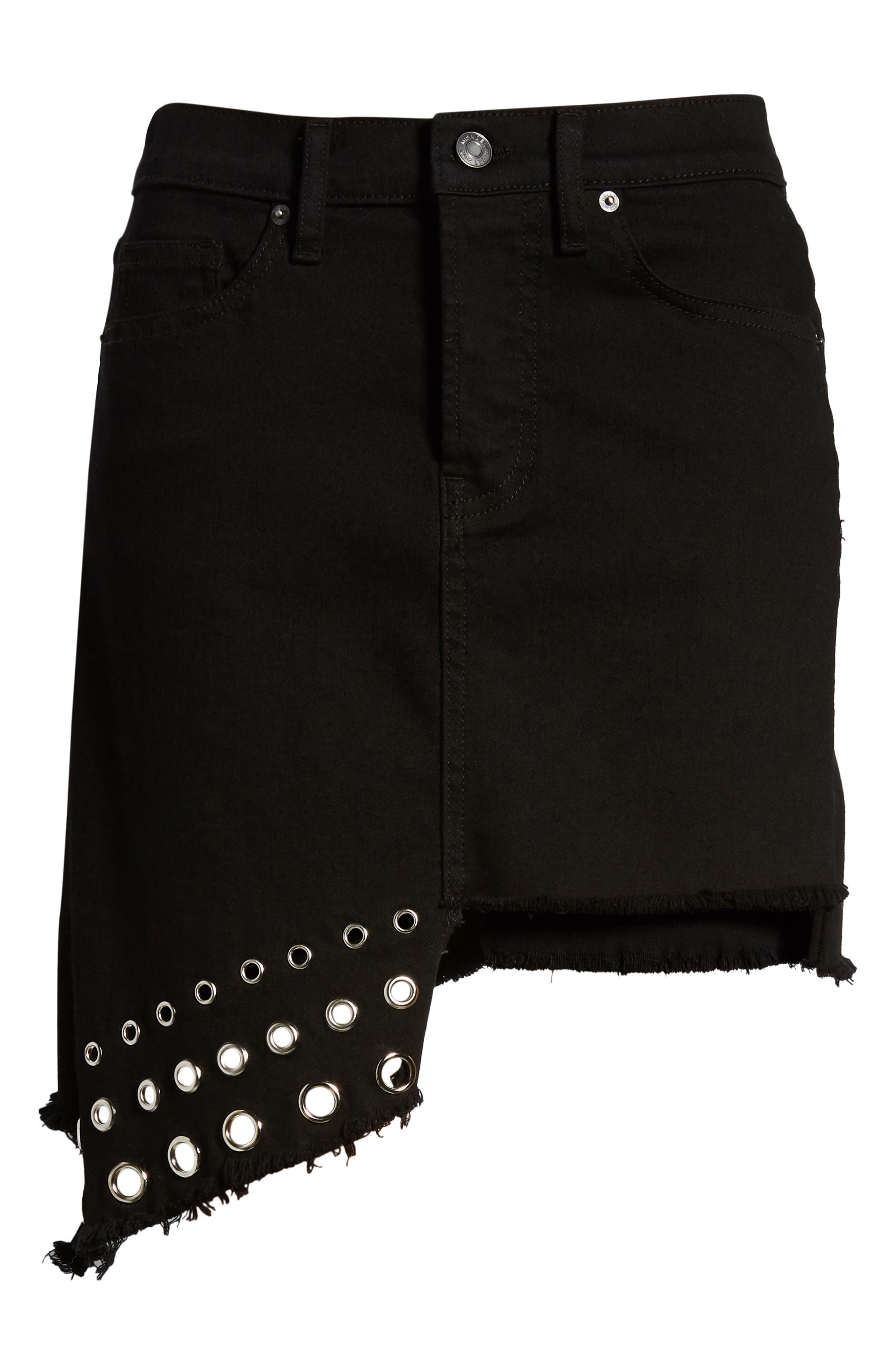 The Super Star Asymmetrical Miniskirt,                             Alternate thumbnail 7, color,                             Black Denim