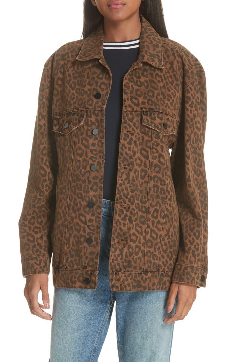 Denim x Alexander Wang Daze Leopard Print Denim Jacket