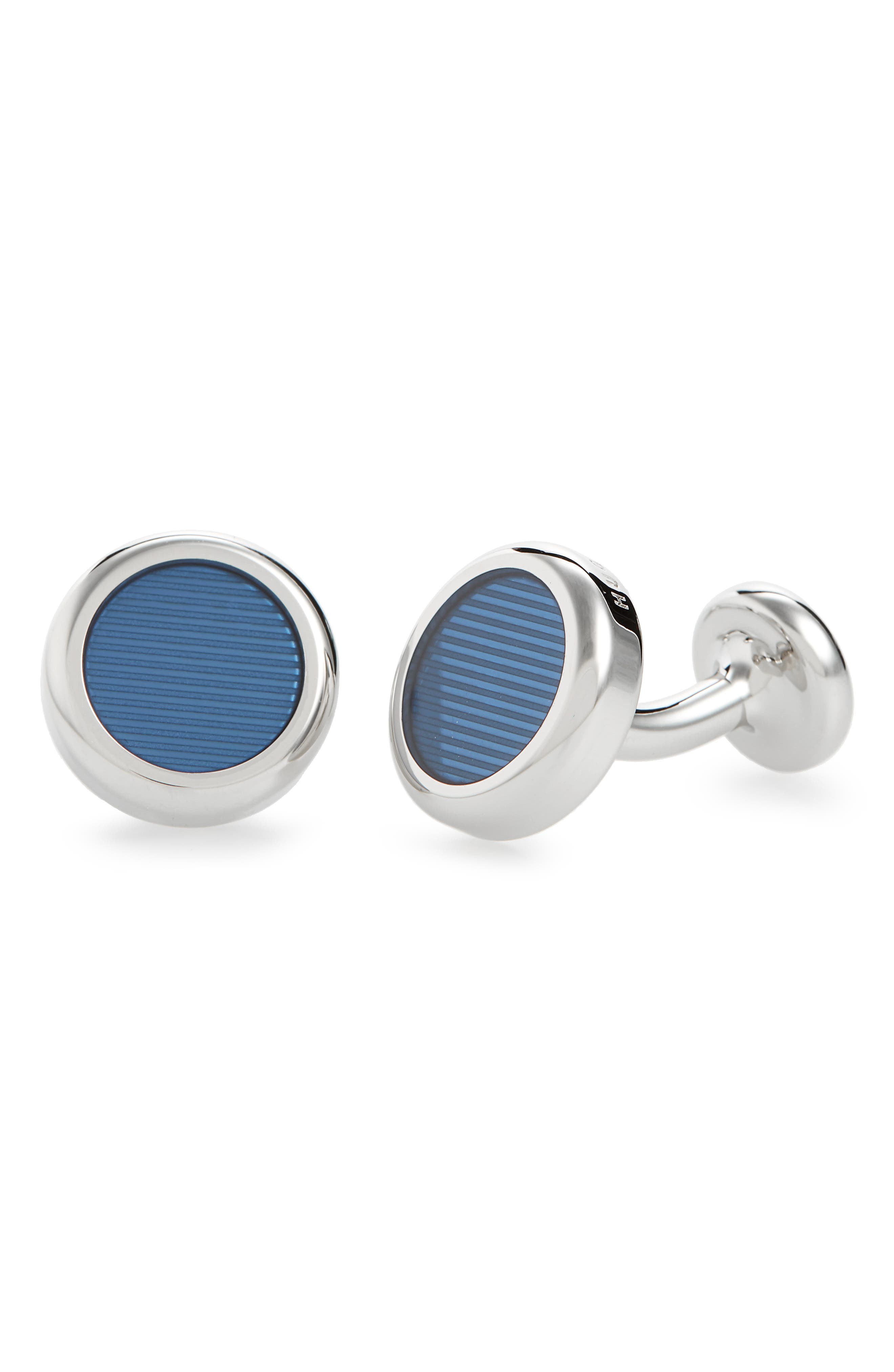 Gil Round Cuff Links,                         Main,                         color, Blue