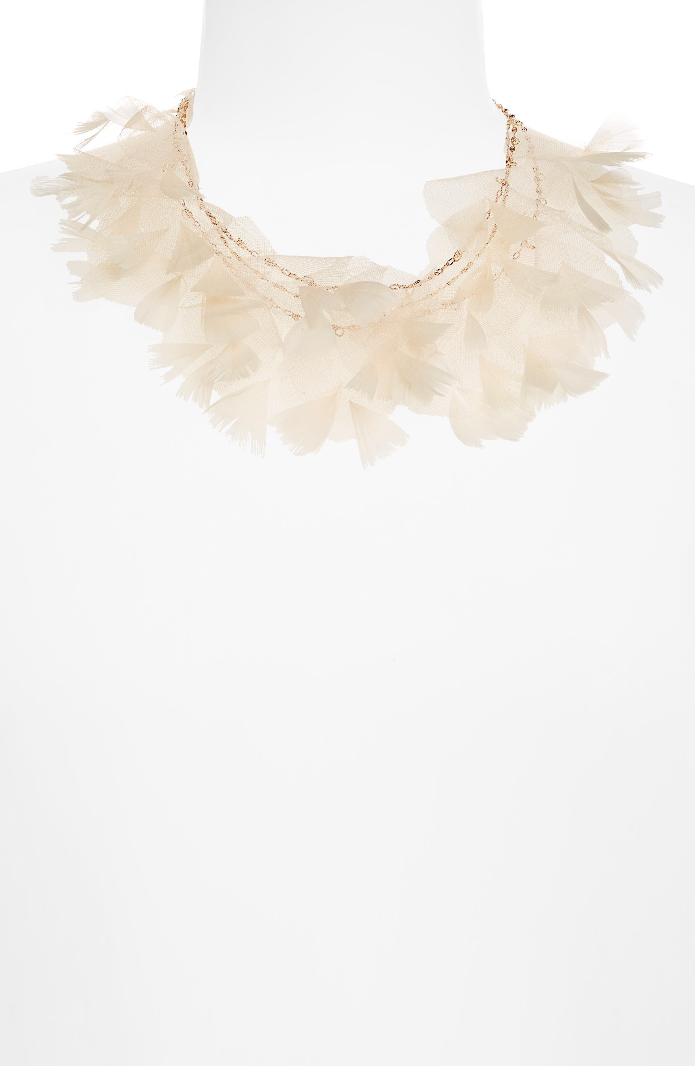 Statement Feather Necklace,                         Main,                         color, Blush