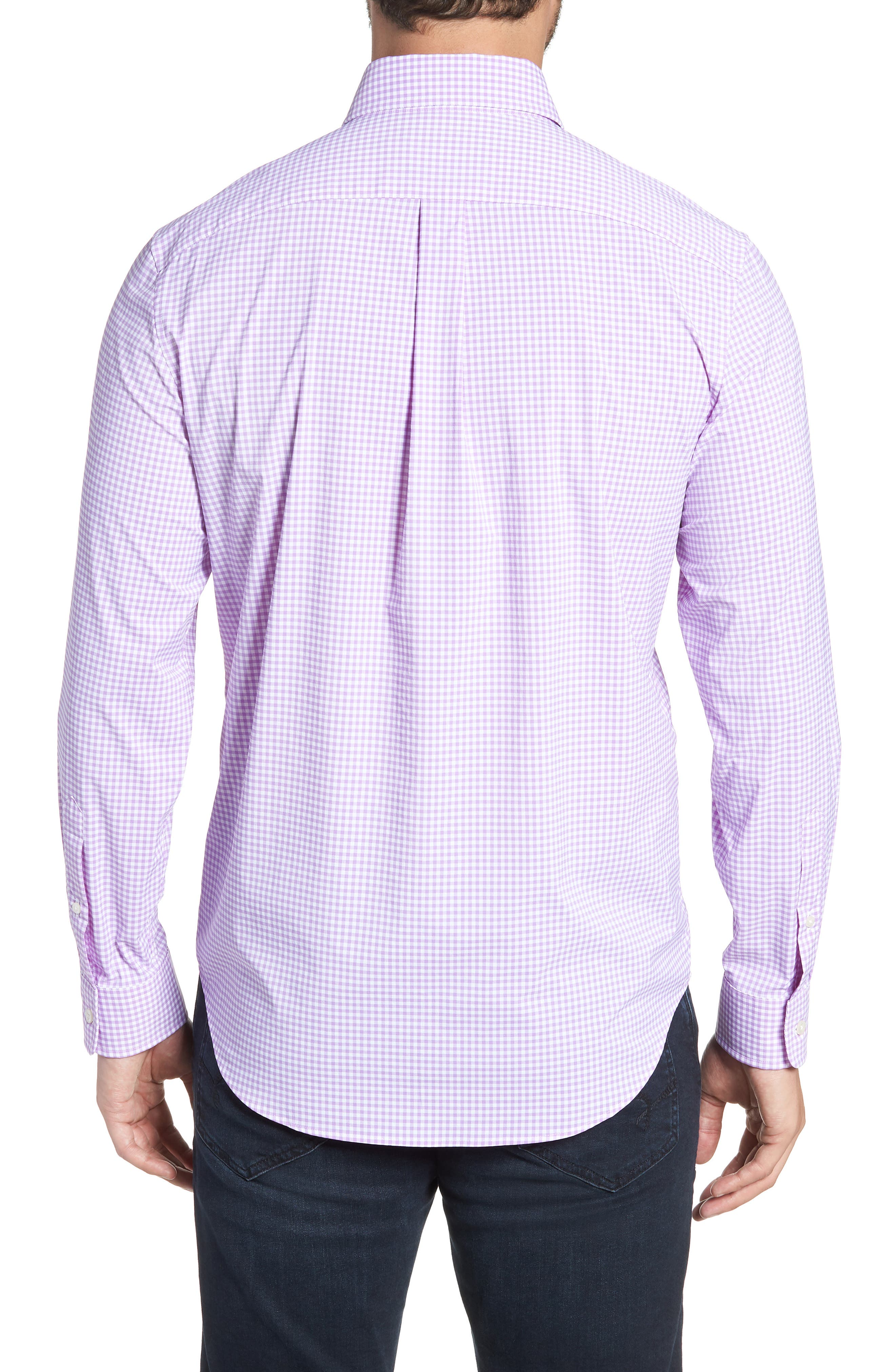 Grand Cay Tucker Regular Fit Gingham Performance Sport Shirt,                             Alternate thumbnail 3, color,                             Sea Urchin