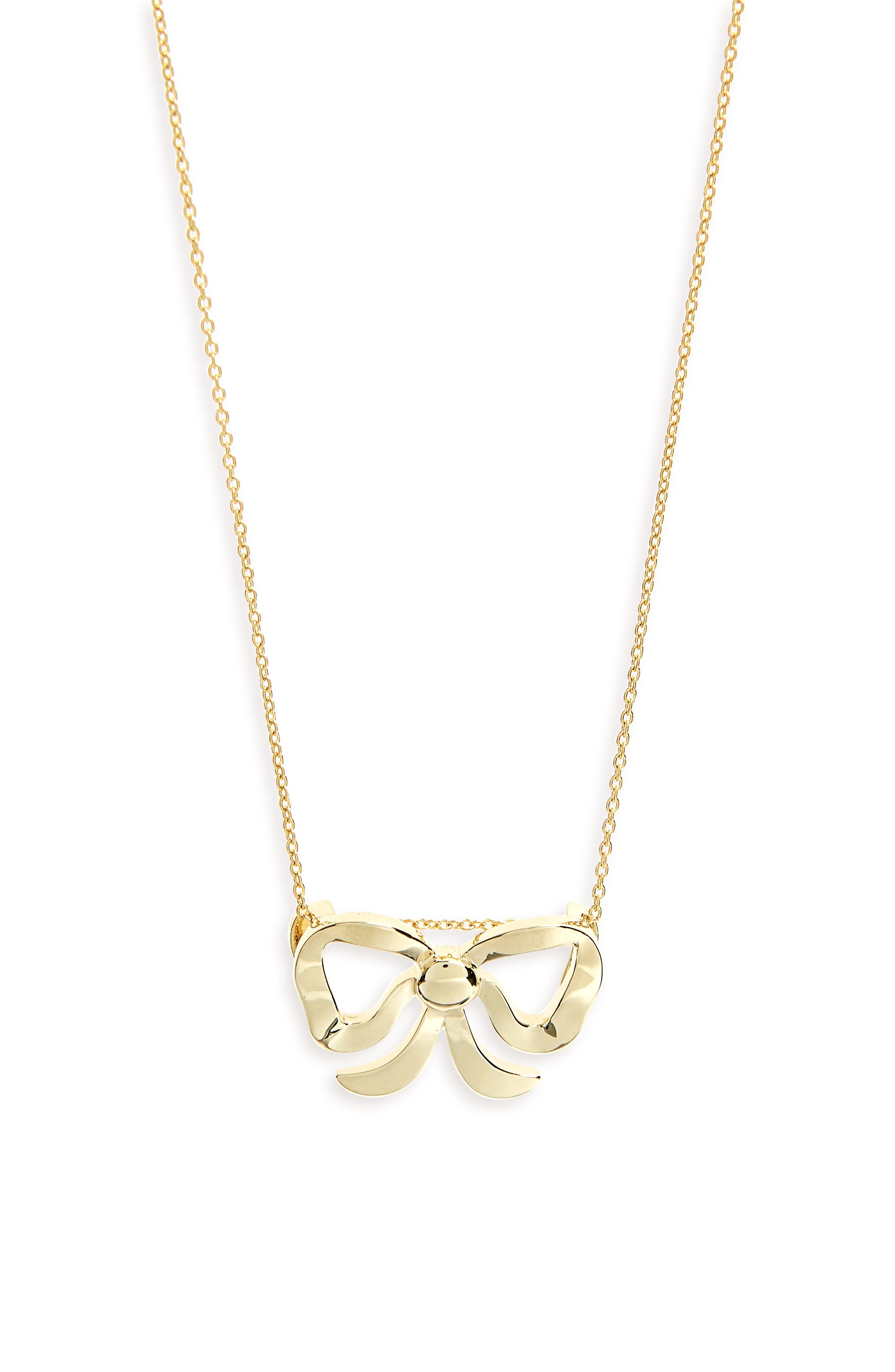 Bow Necklace,                             Main thumbnail 1, color,                             Yellow Gold