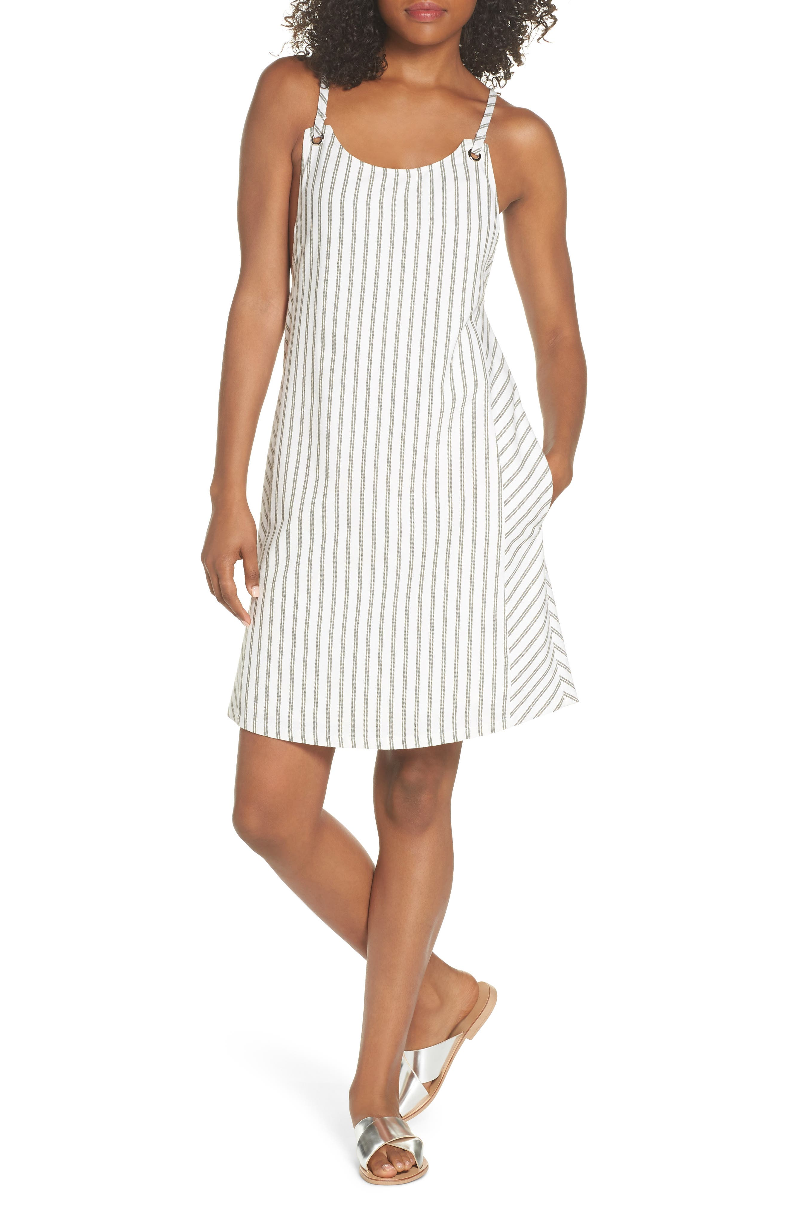 Striped Overall Dress,                         Main,                         color, Sage