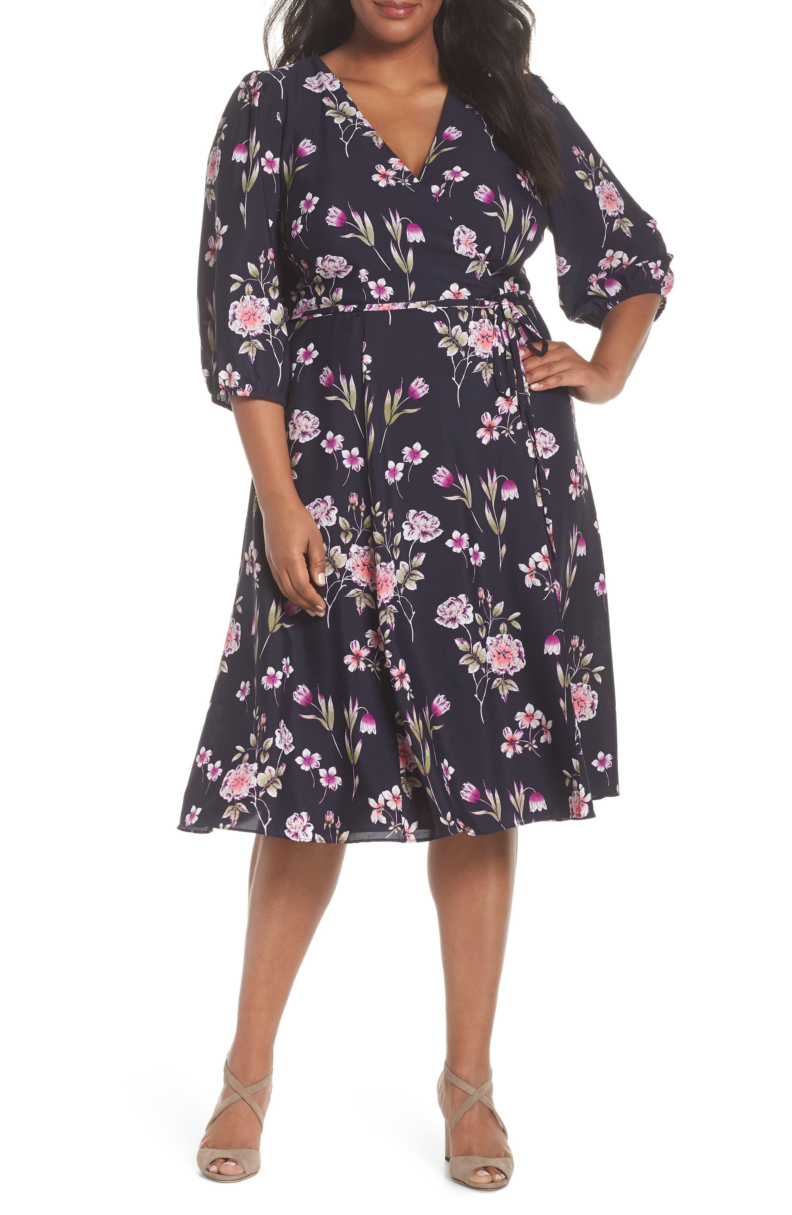 Puff Sleeve Floral Wrap Midi Dress,                             Main thumbnail 1, color,                             Navy