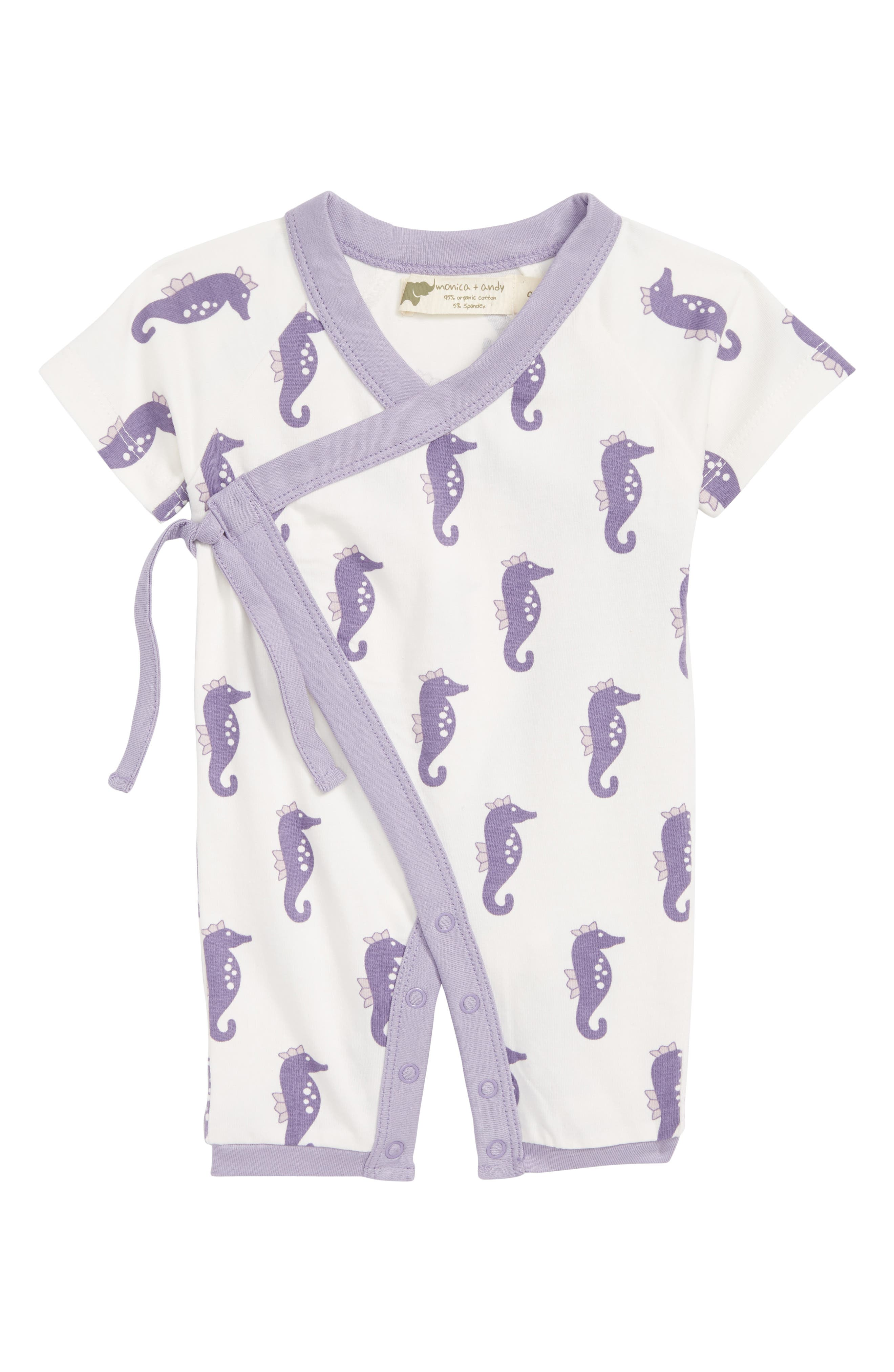 Sweet Baby Wrap Romper,                             Main thumbnail 1, color,                             Little Sea Horse