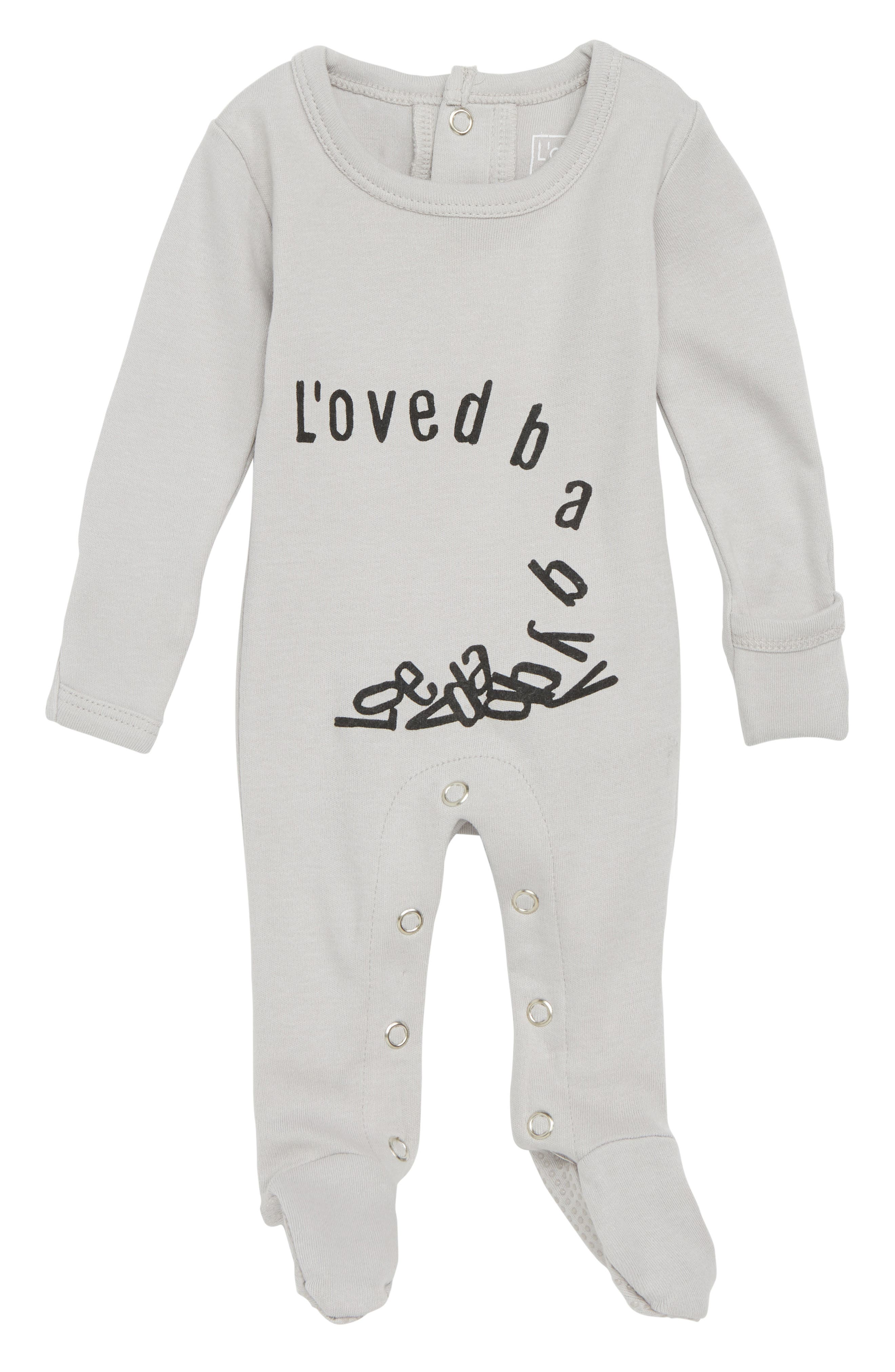 Organic Cotton Footie,                             Main thumbnail 1, color,                             Falling For Love