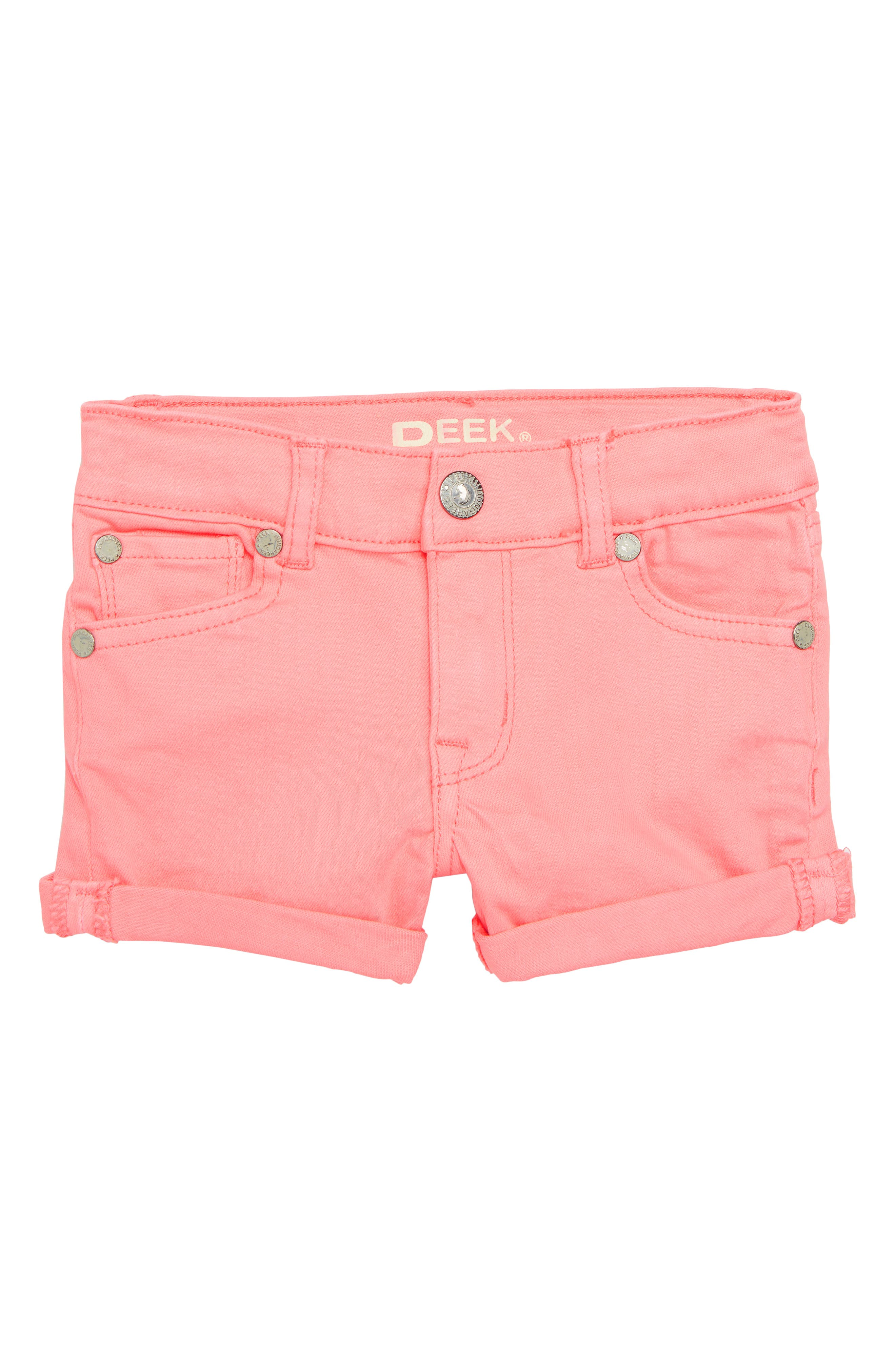 Griffin Stretch Cotton Shorts,                         Main,                         color, Neon Coral