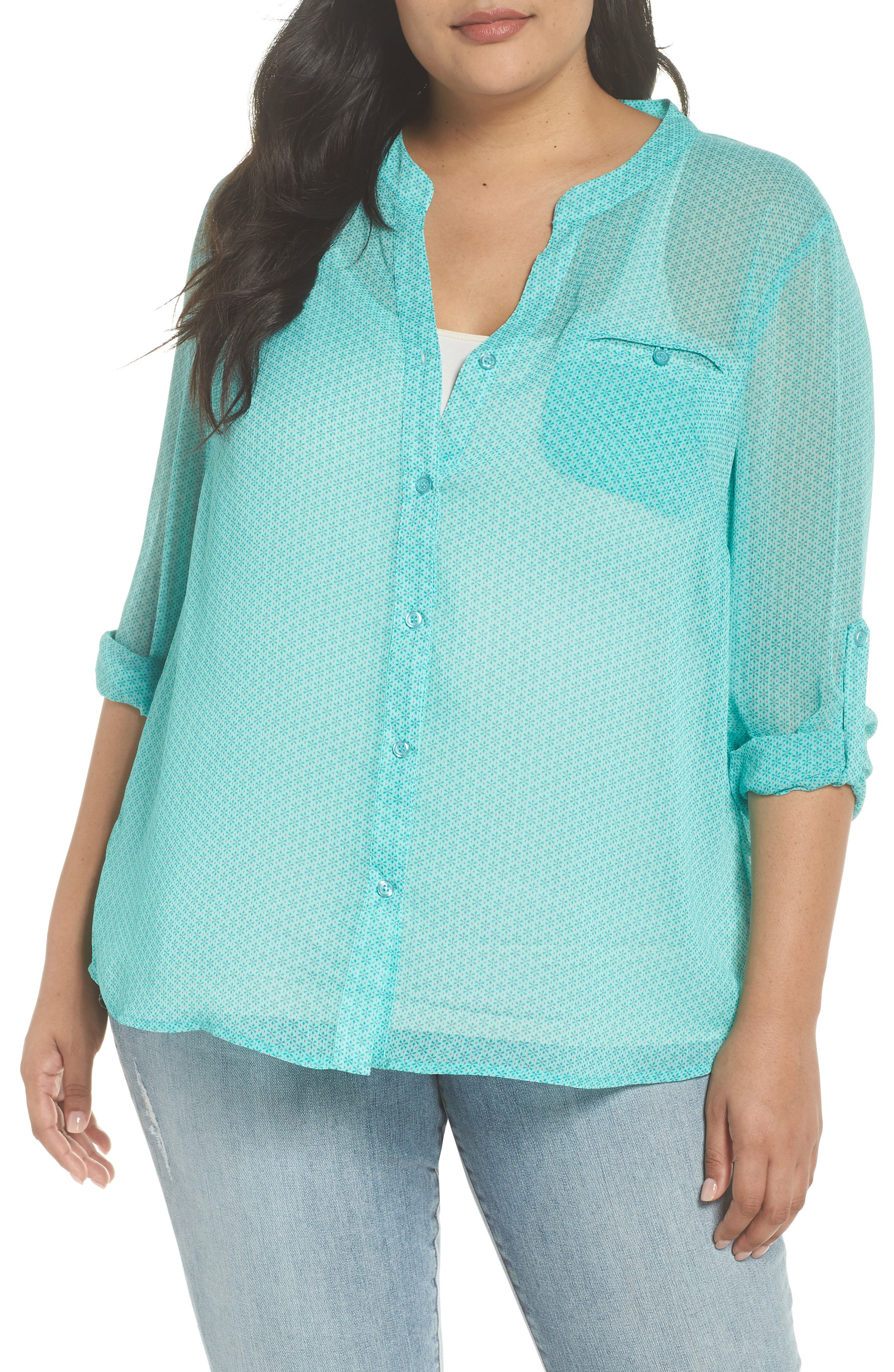 Jasmine Roll Sleeve Top,                         Main,                         color, Mint