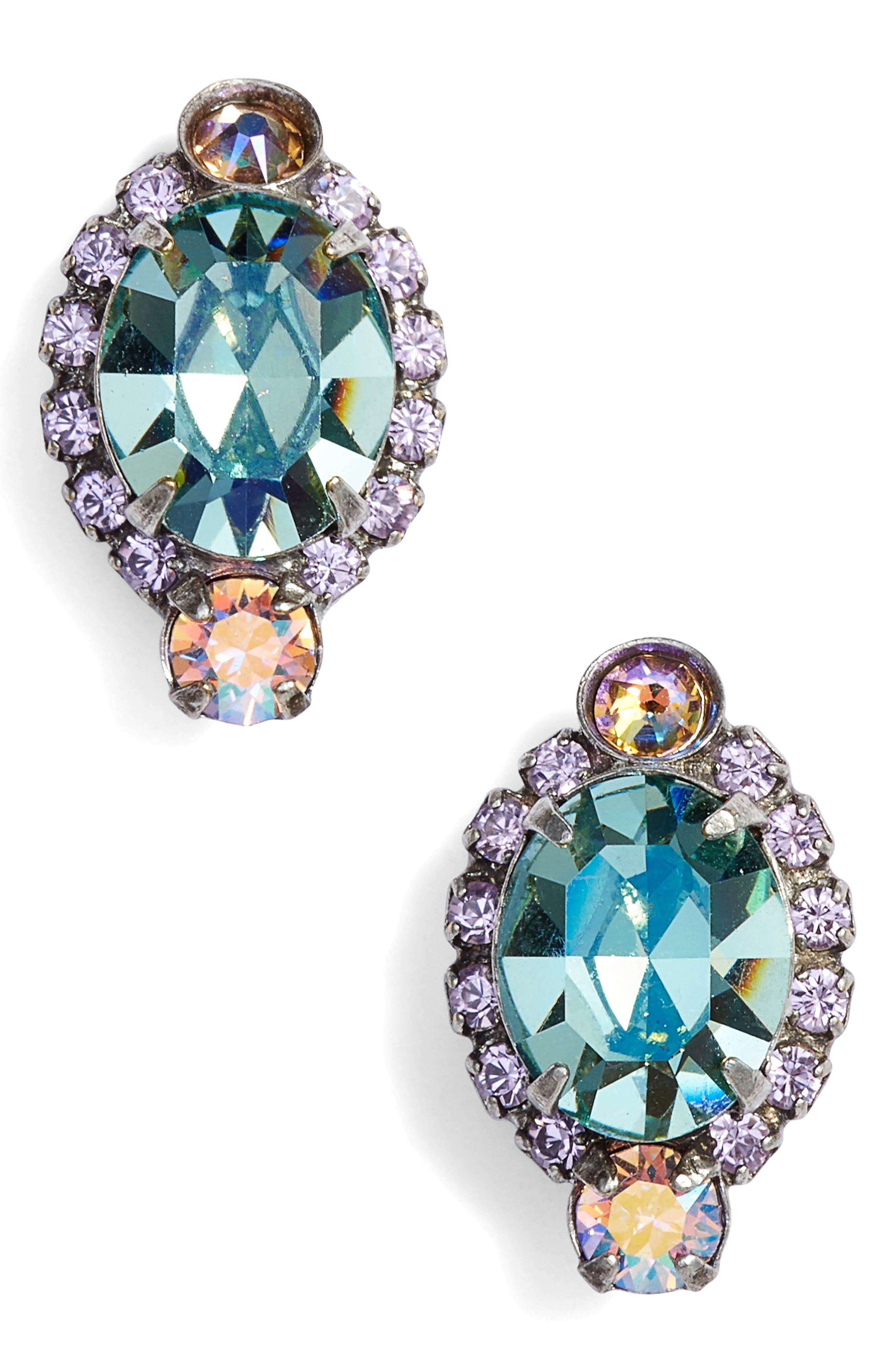 Adenium Crystal Earrings,                             Main thumbnail 1, color,                             Blue