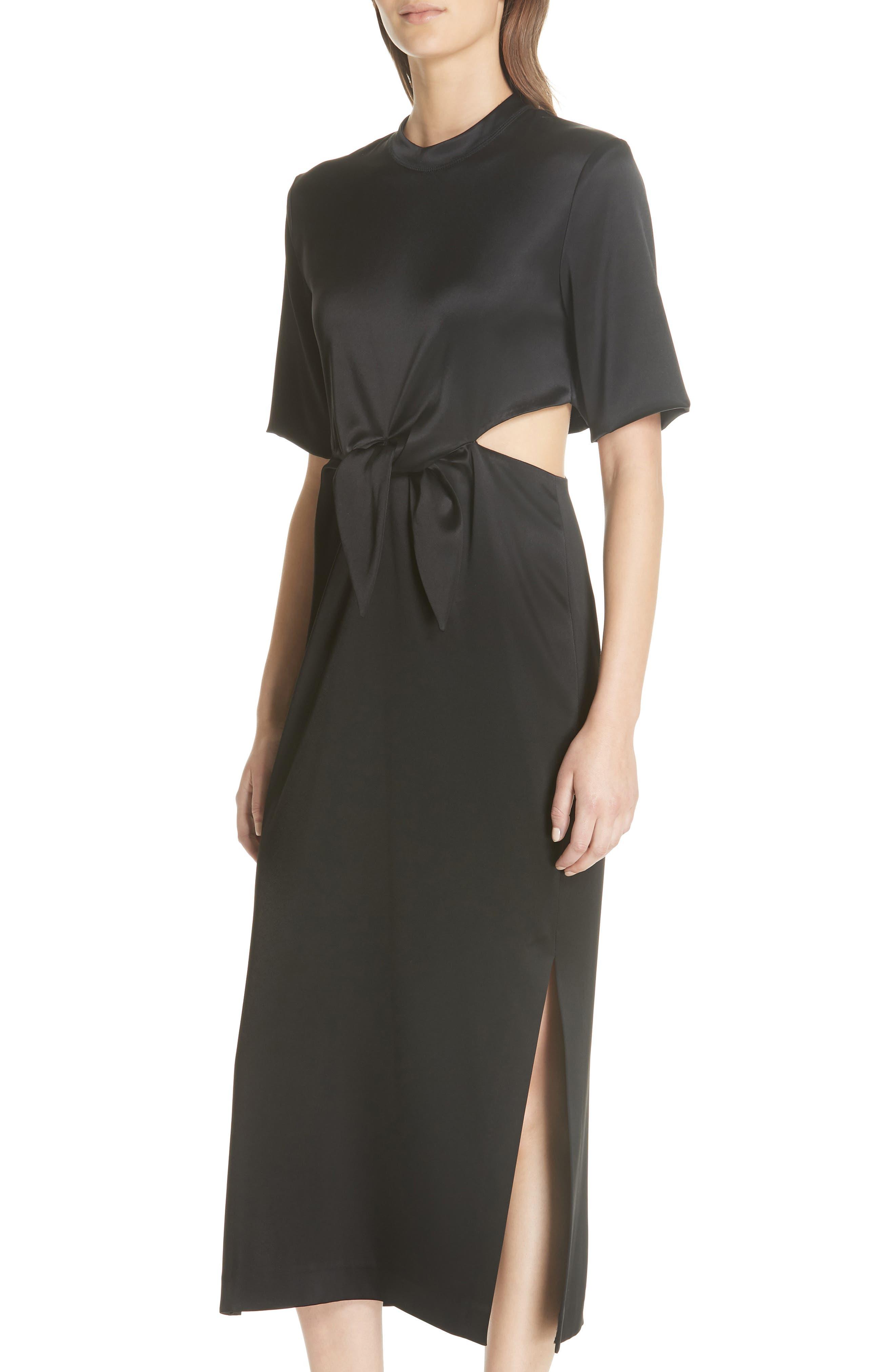 Bhumi Tie Waist Satin Dress,                             Alternate thumbnail 4, color,                             Black