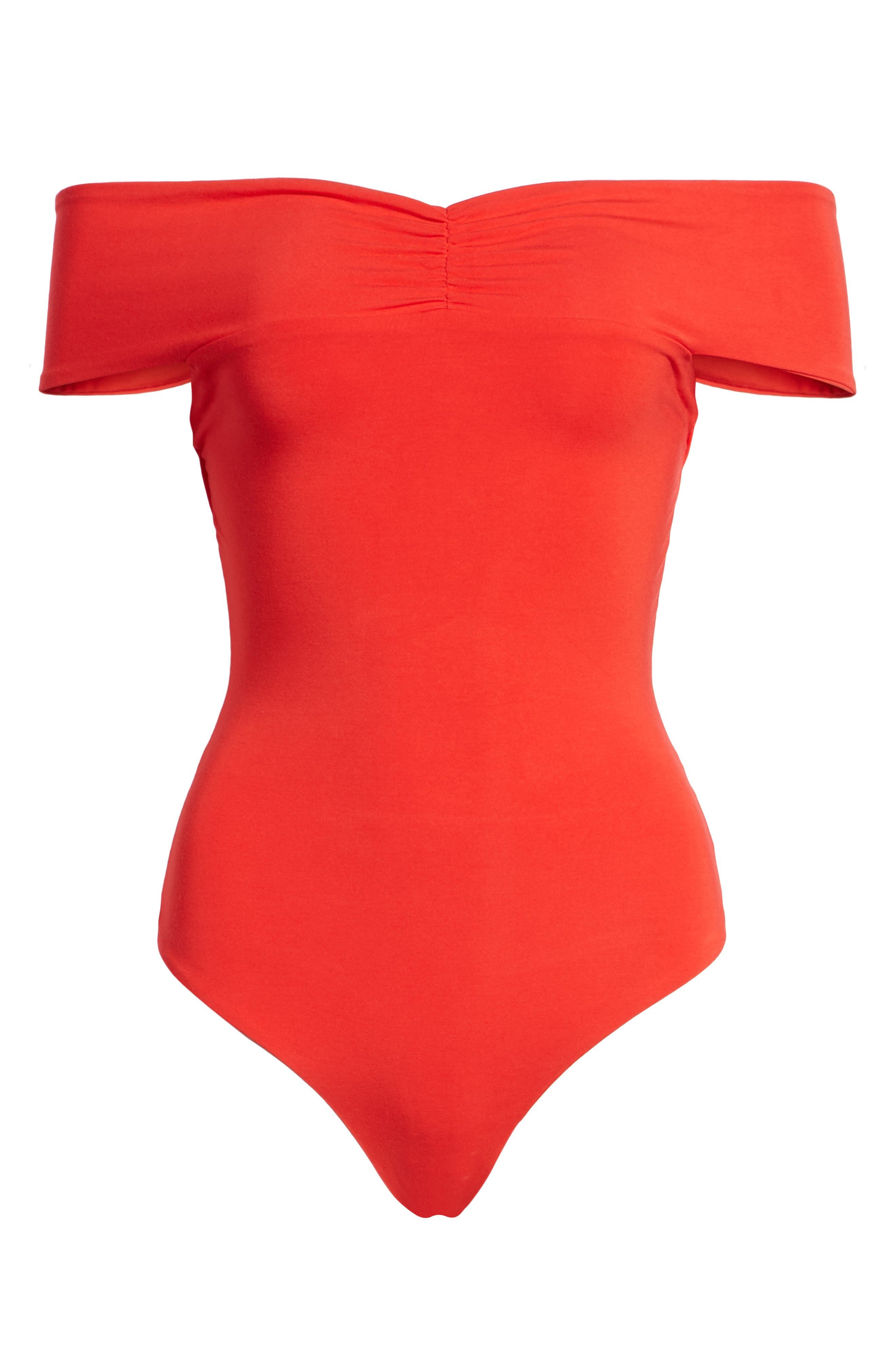 Neil Off the Shoulder Bodysuit,                             Alternate thumbnail 6, color,                             Red