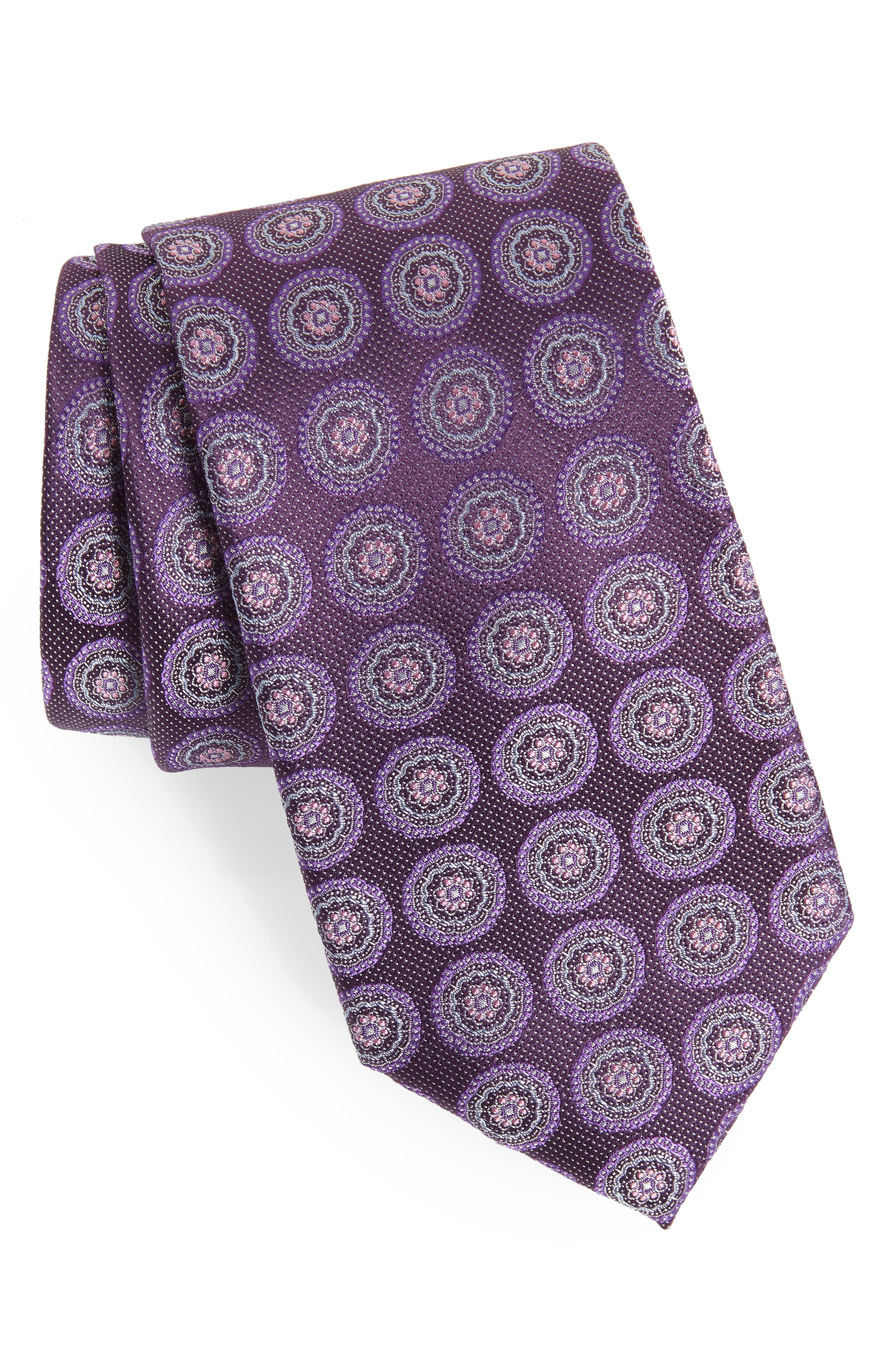 Pinpoint Medallion Silk Tie,                         Main,                         color, Dark Fashion Purple
