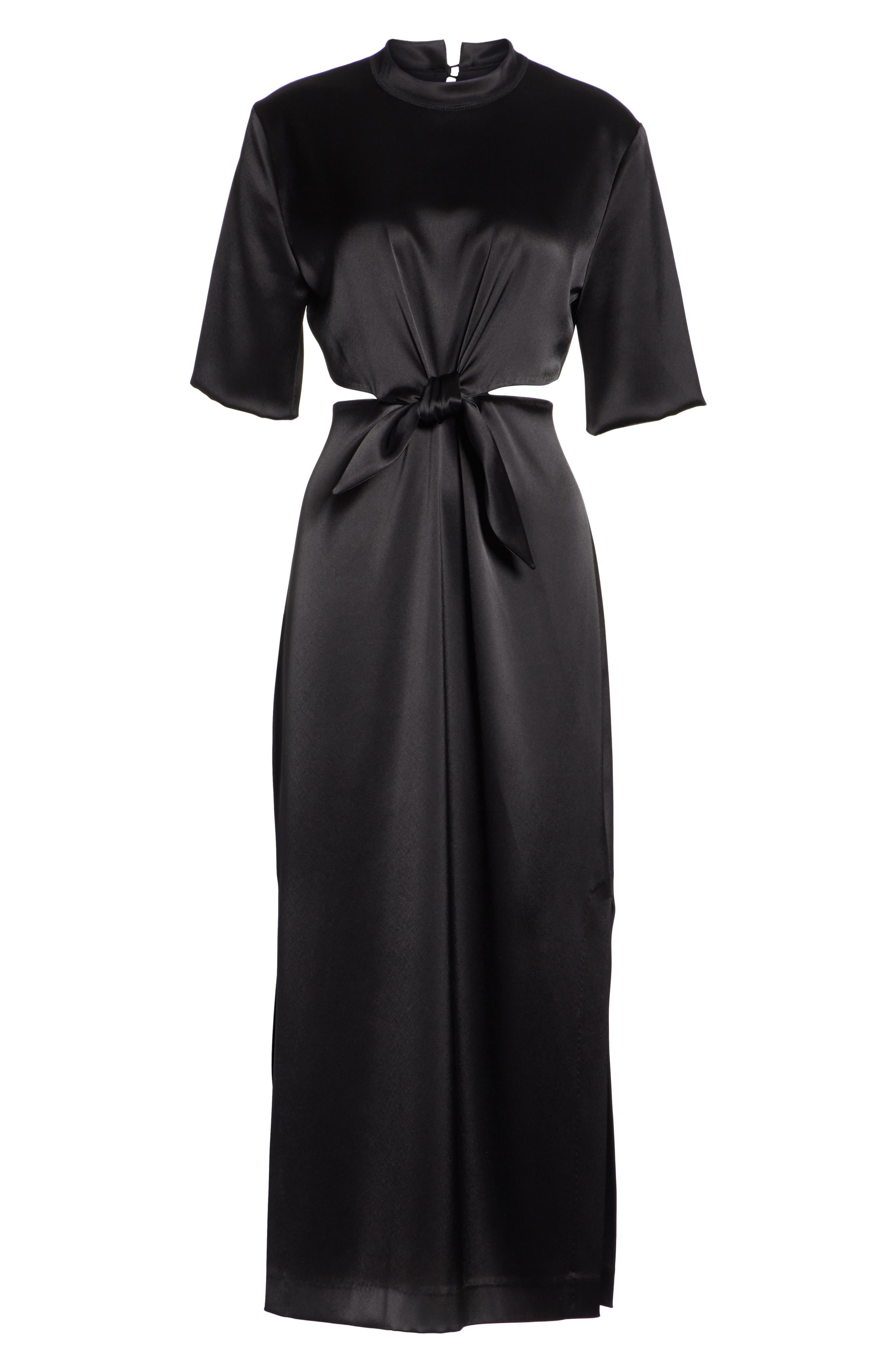 Bhumi Tie Waist Satin Dress,                             Alternate thumbnail 6, color,                             Black