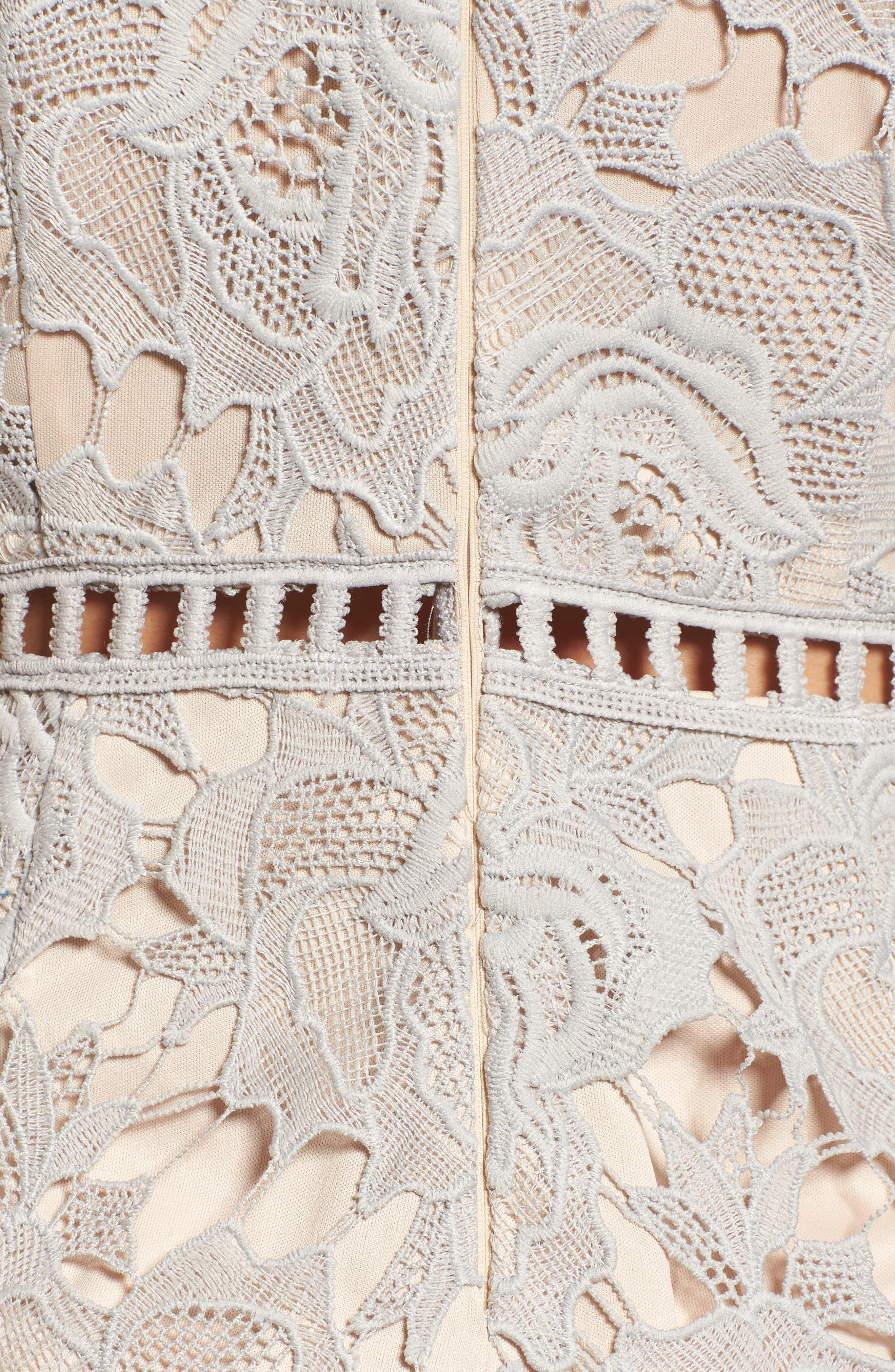 Short Sleeve V-Neck Lace Romper,                             Alternate thumbnail 3, color,                             Light Grey