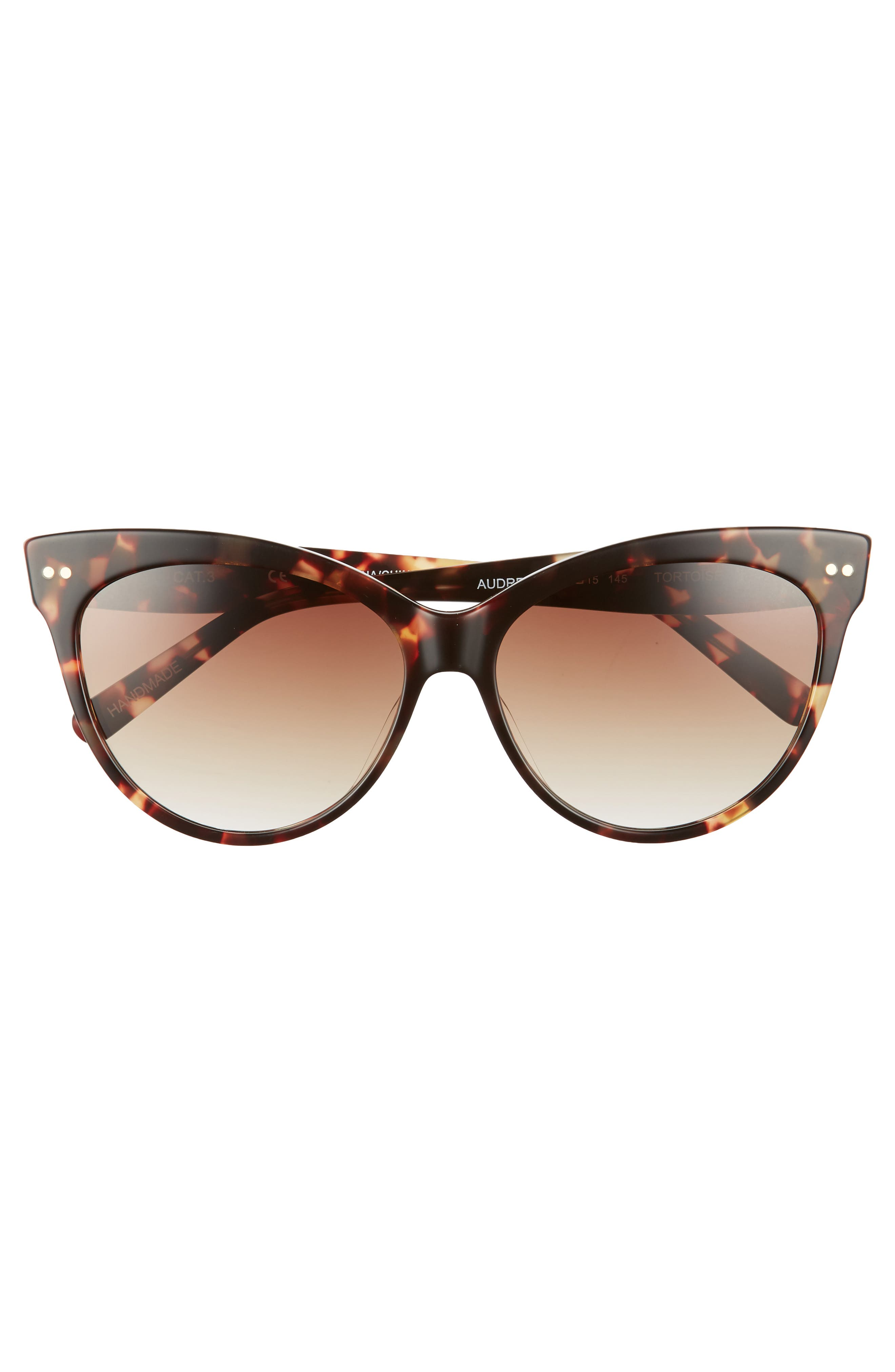 Audrey 60mm Cat Eye Sunglasses,                             Alternate thumbnail 3, color,                             Brown Tortoise